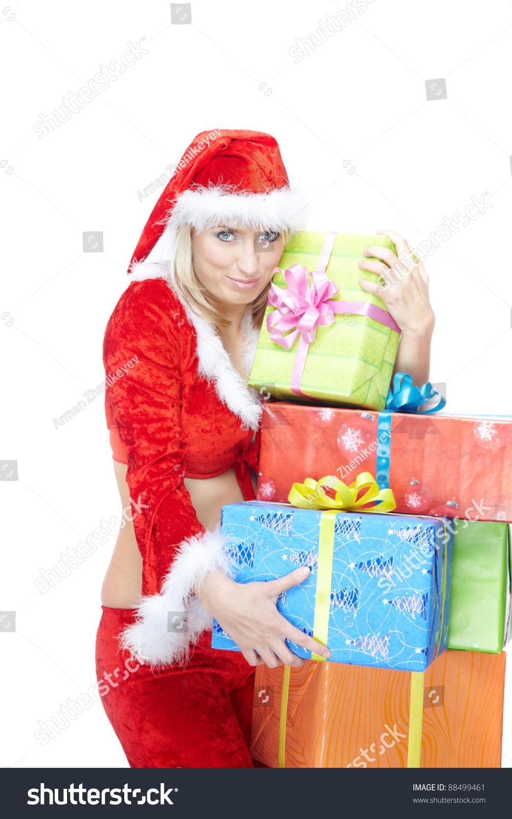 Smiling Lady Santa Claus Costume Christmas Stock Photo (Edit Now ...