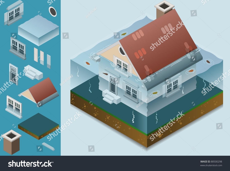 Isometric Flooded House Stock Vector 88500298 Shutterstock