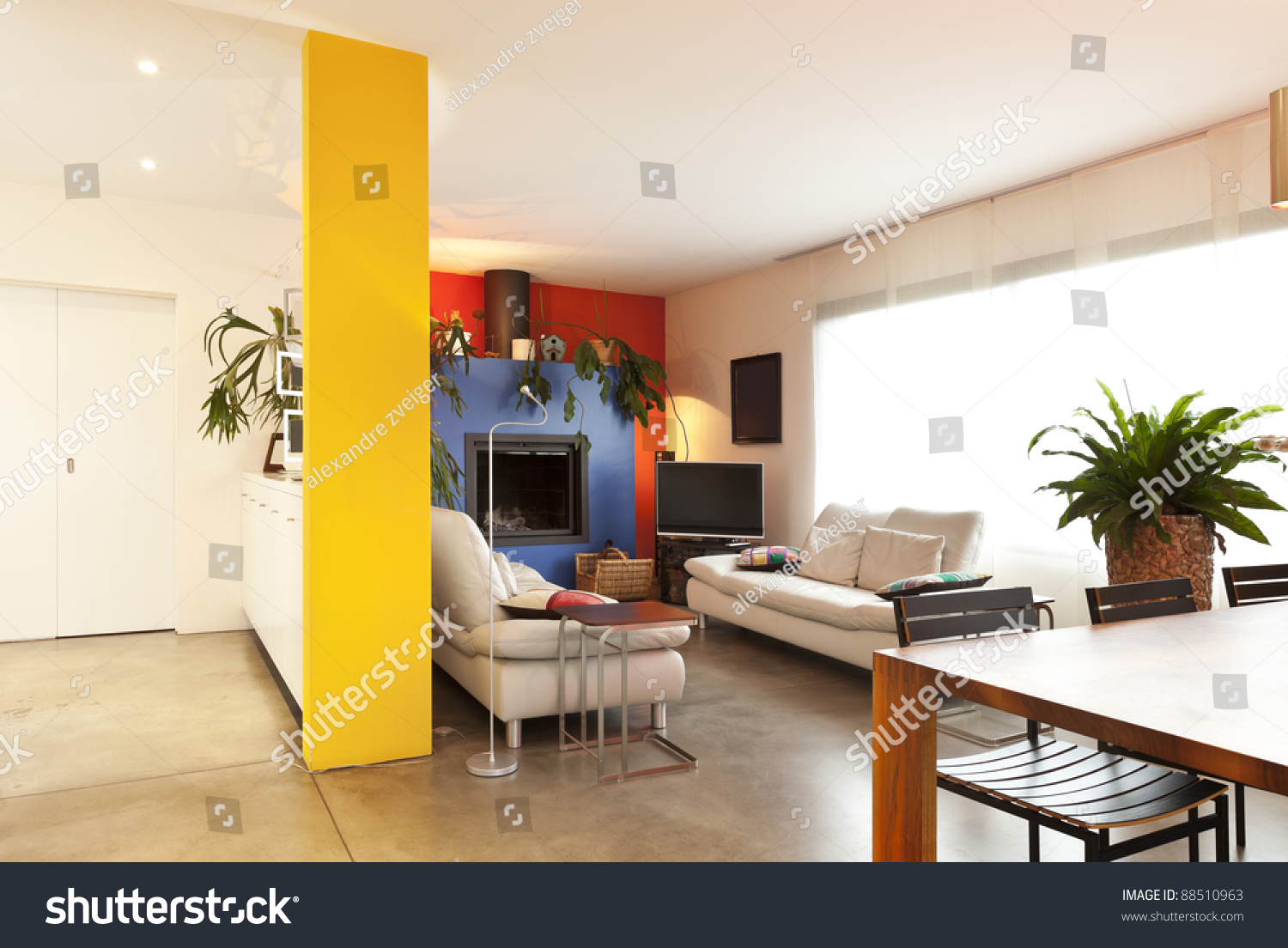 Comfortable Modern Apartment Hall View Living Room Background Stock Photo 88510963 Shutterstock
