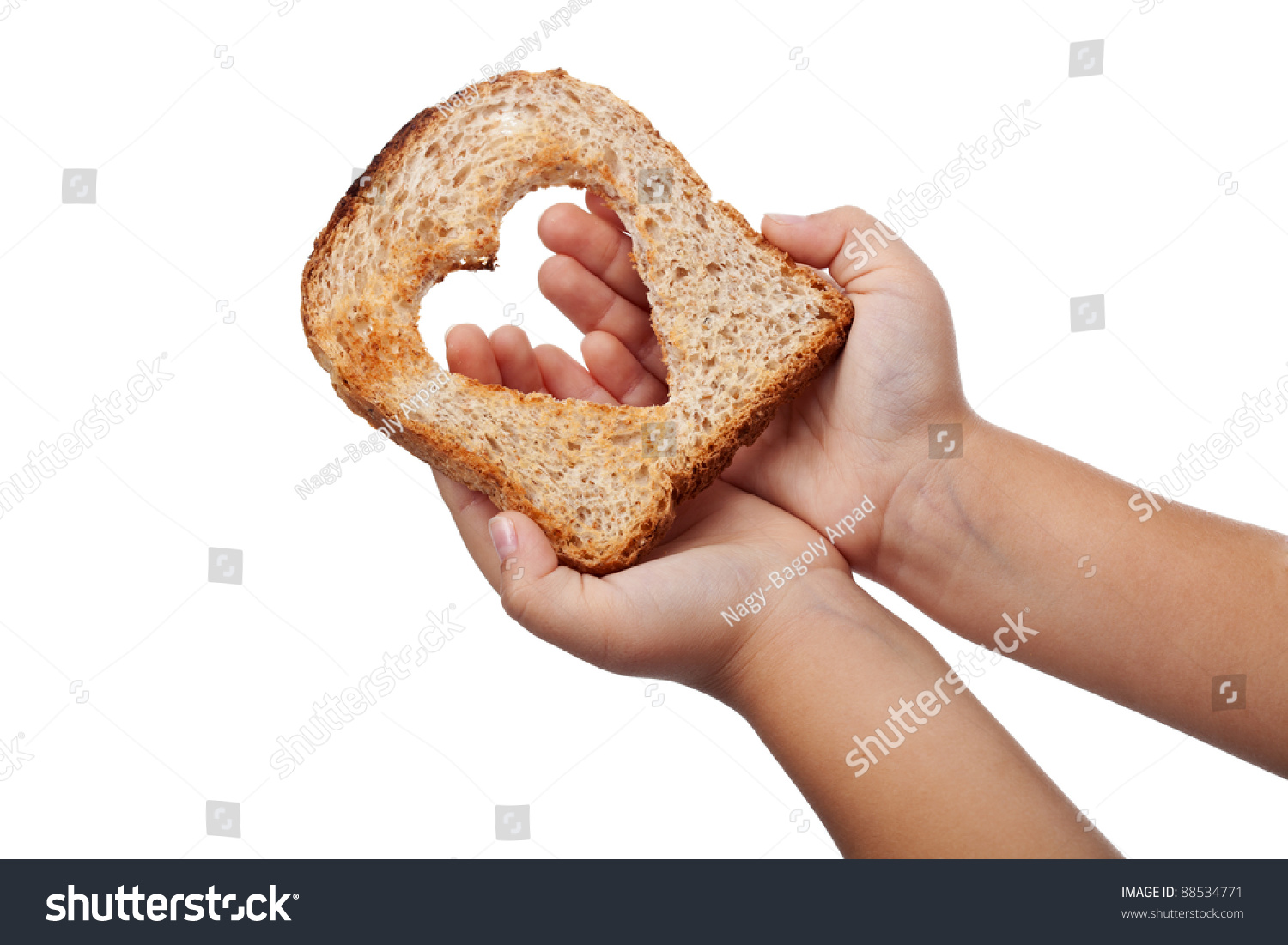 Giving Food With Love Concept - Slice Of Bread In Child ...