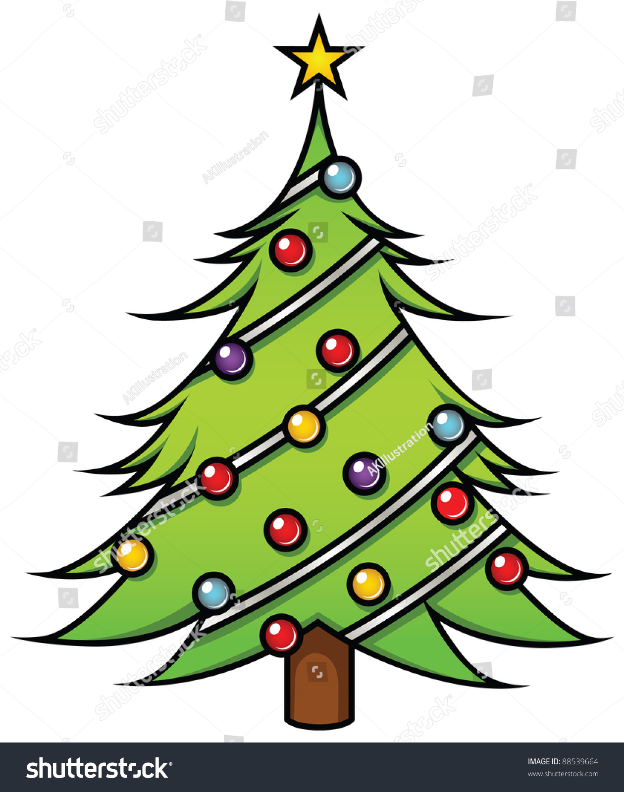 Cute Cartoon Christmas Tree On White Stock Illustration ...