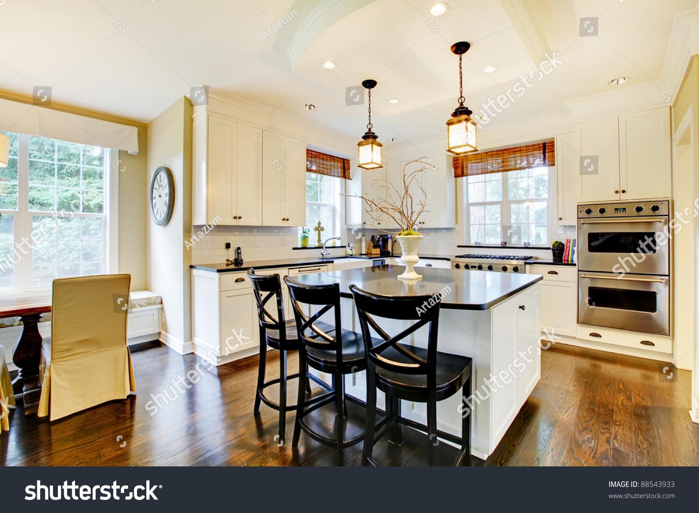 White Large Luxury Modern Kitchen Window Stock Photo Edit Now 88543933
