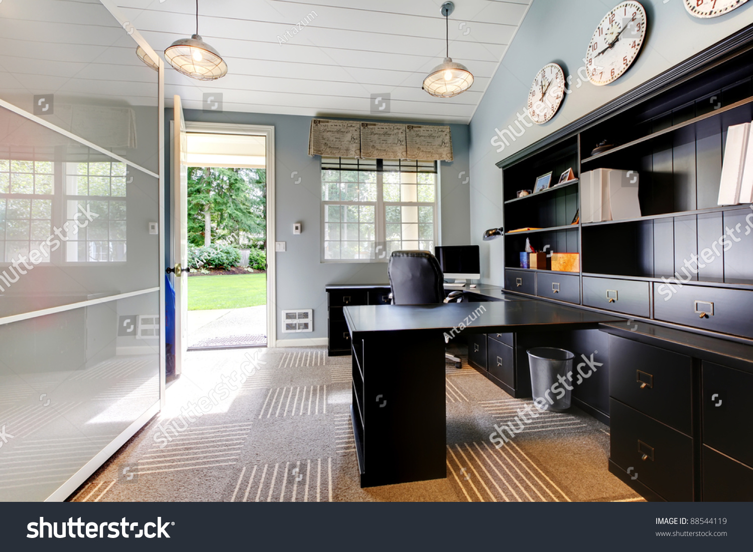 Blue modern home office interior design stock photo for Office design blue