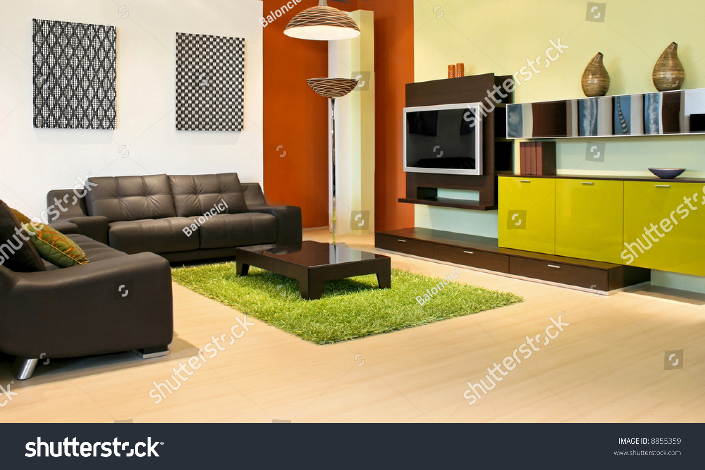 Modern Living Room Green Terracotta Colors Stock Photo (Edit Now ...