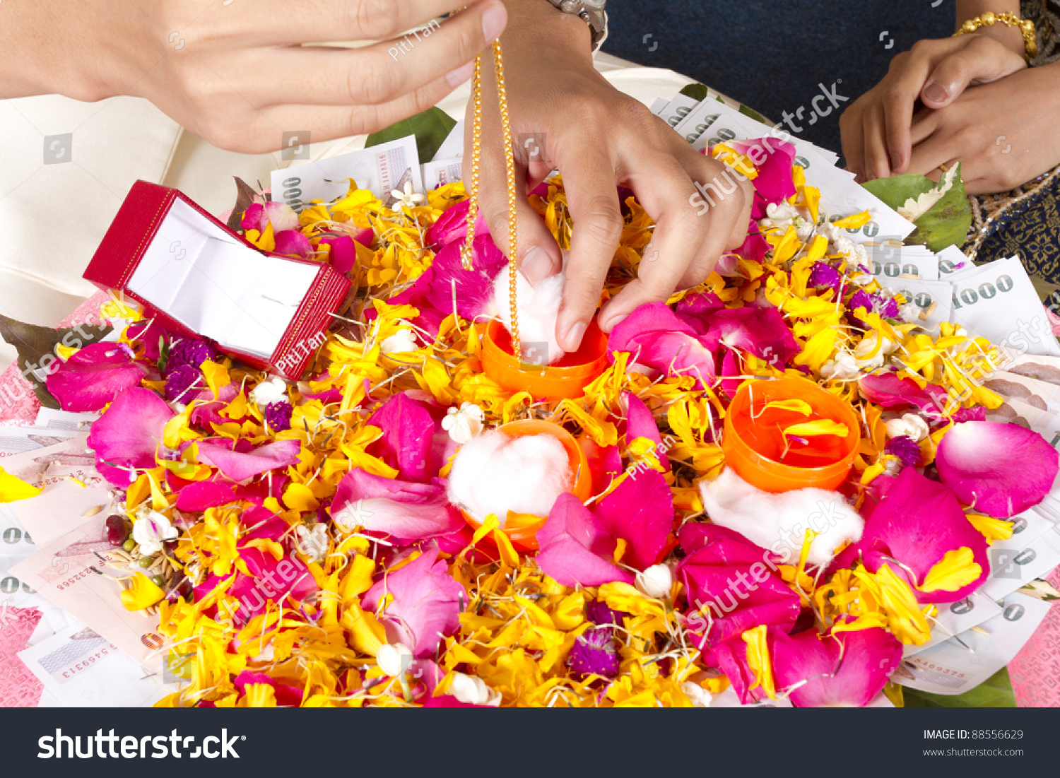 Dowry Thai Wedding Ceremony Showing Gold Stock Photo 88556629
