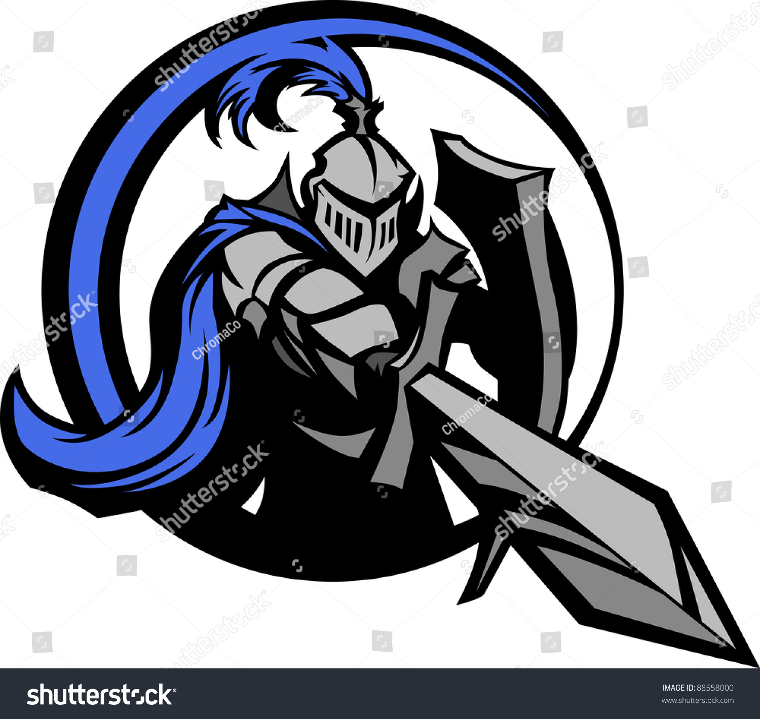 Medieval Knight Wearing Armor Vector Holding Stock Vector ...