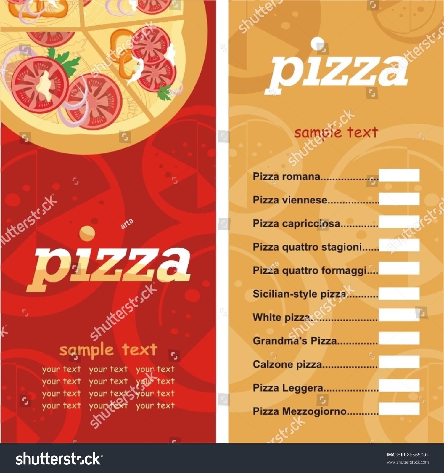 Pizza Menu Template Vector Illustration Vector 88565002 – Sample Pizza Menu Template