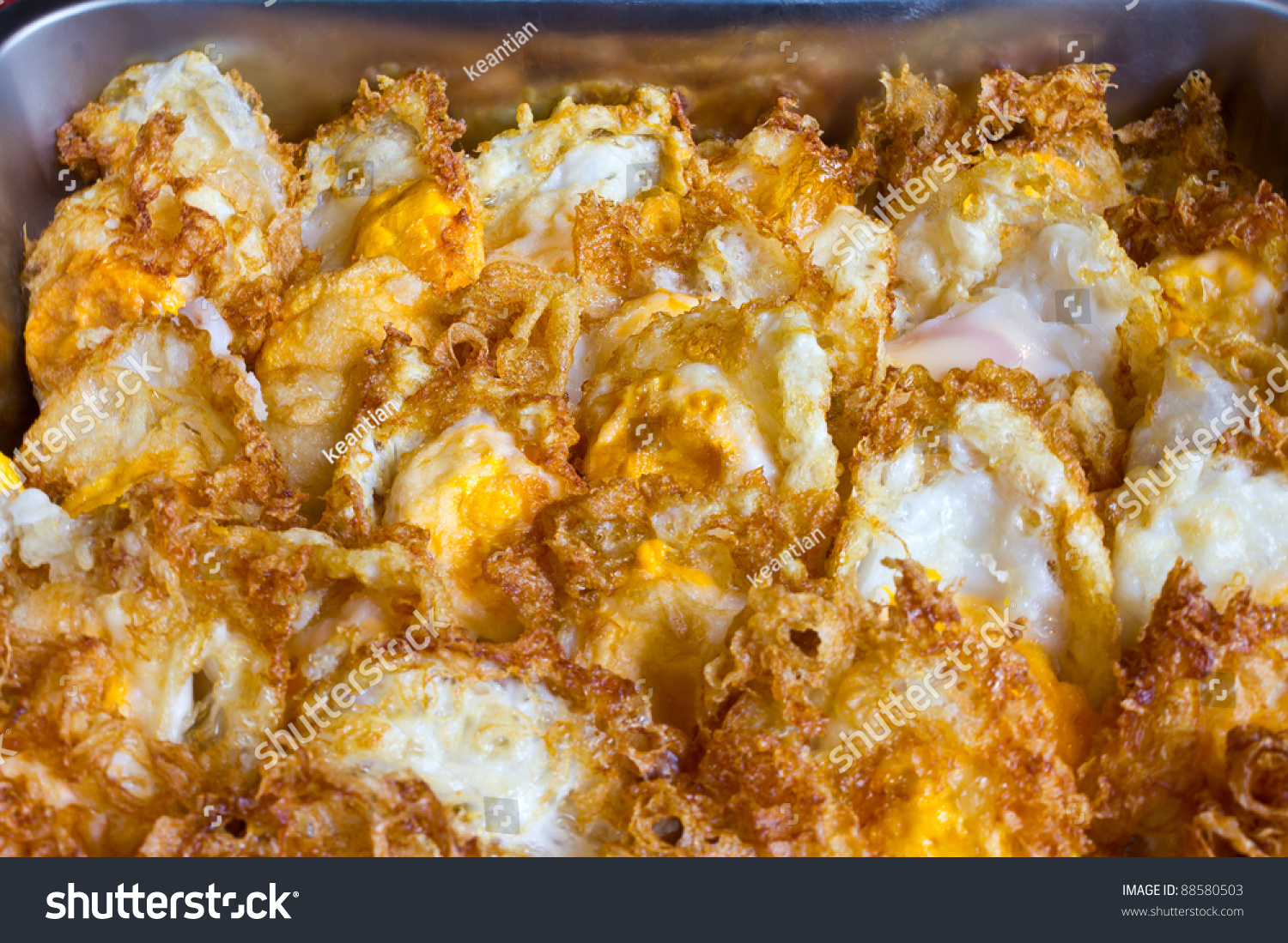 Crispy Fried Egg. Which Is Arranged In Rows On The Tray. Stock ...