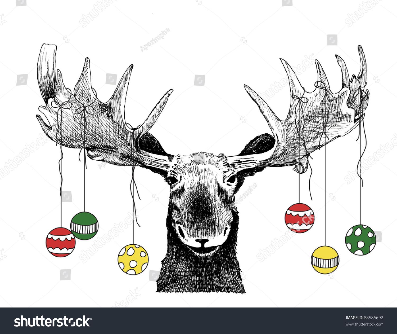 Funny Christmas Card Moose Design Cute Stock Illustration 88586692 ...