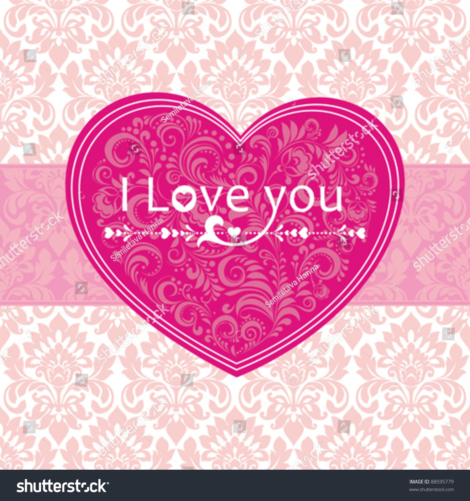 Love You Vector Greeting Card Valentins Stock Vector 88595779