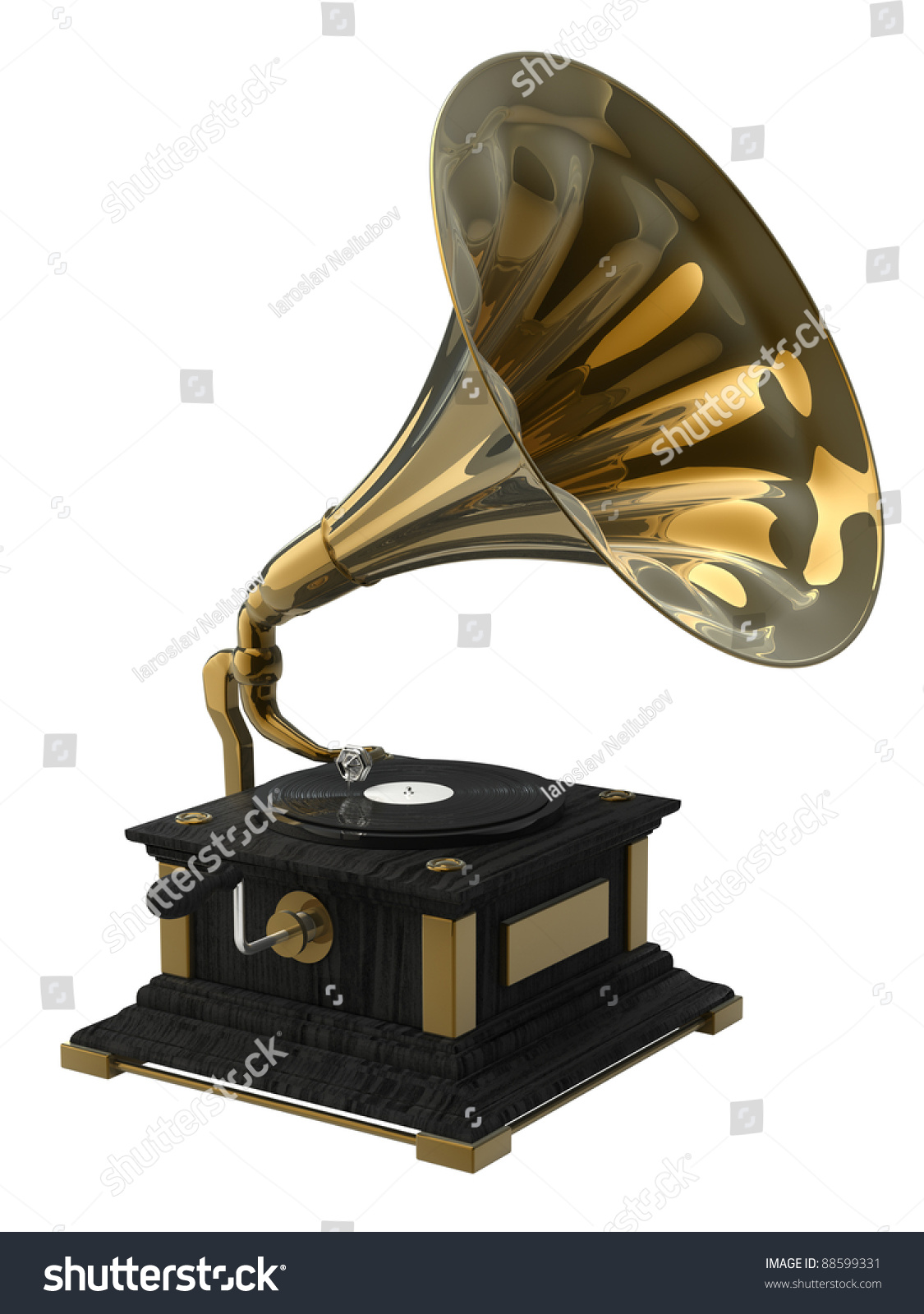 Old Record Player Over White Background Stock Illustration