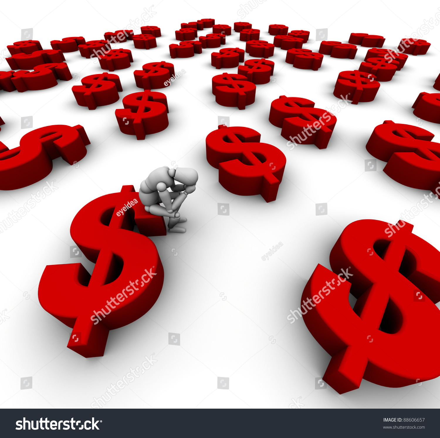 3d mannequin sitting on dollar symbol stock illustration 88606657 3d mannequin sitting on dollar symbol in red with many more dollar symbols biocorpaavc Images