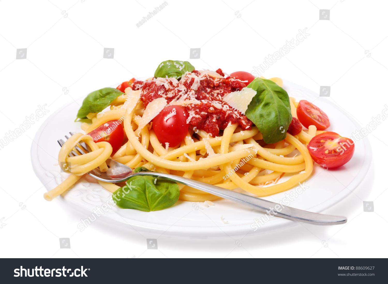 Italian Pasta With Tomato Sauce, Fresh Cherry Tomatoes And Basil Stock ...