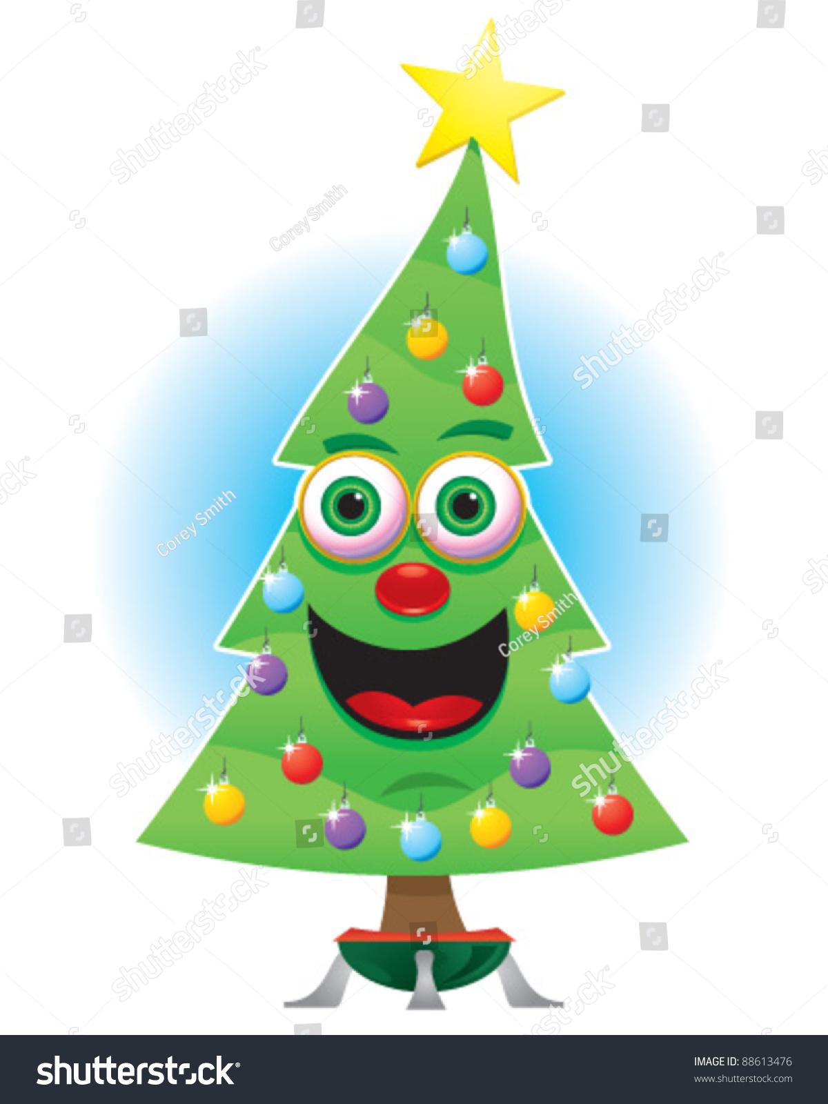Animated Happy Christmas Tree Stock Vector Illustration