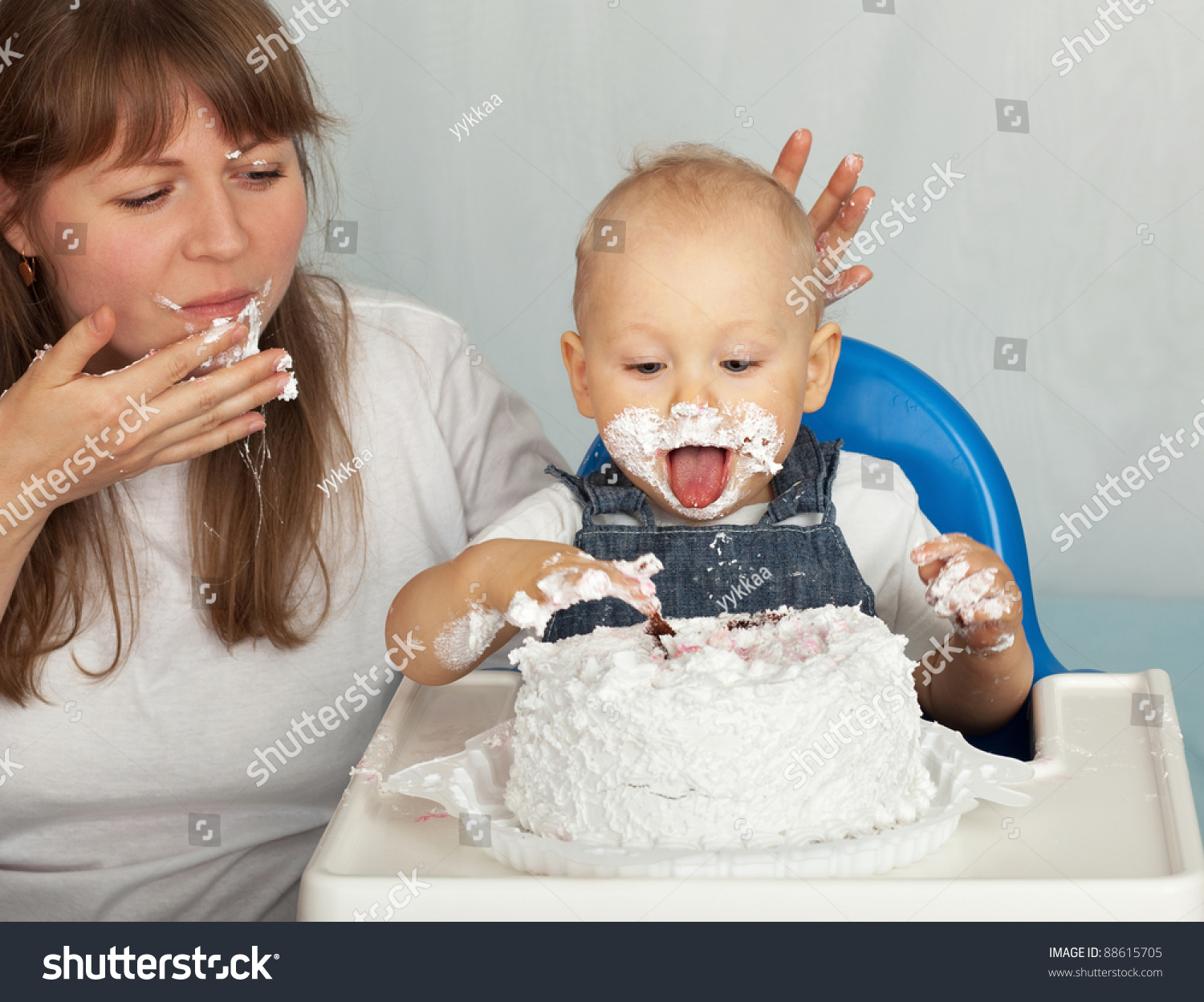 Cool Mom Son Eating Birthday Cake Stock Photo Edit Now 88615705 Funny Birthday Cards Online Inifofree Goldxyz