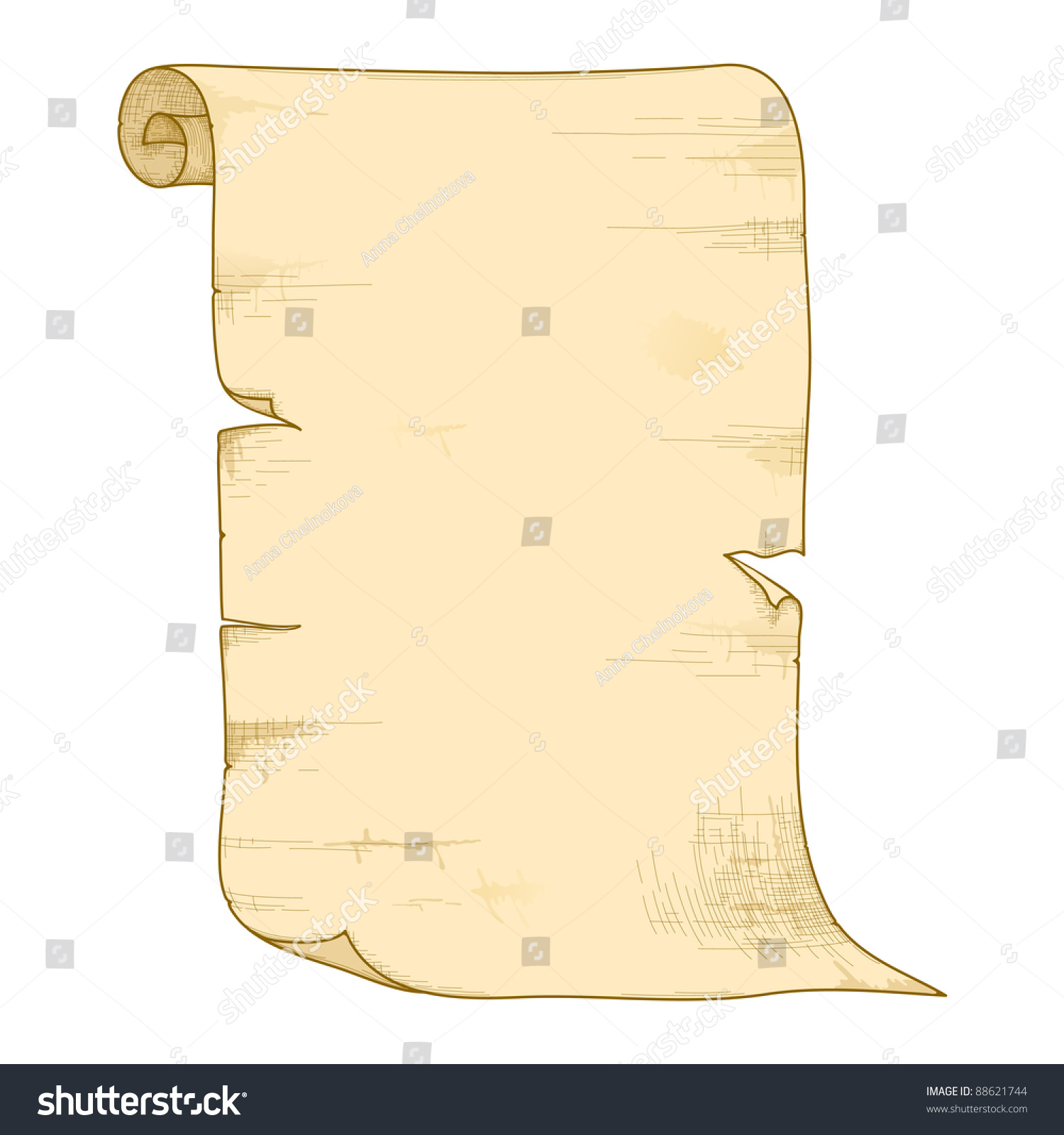 Vector Illustration Of Old Paper Roll Isolated On White ...  Old
