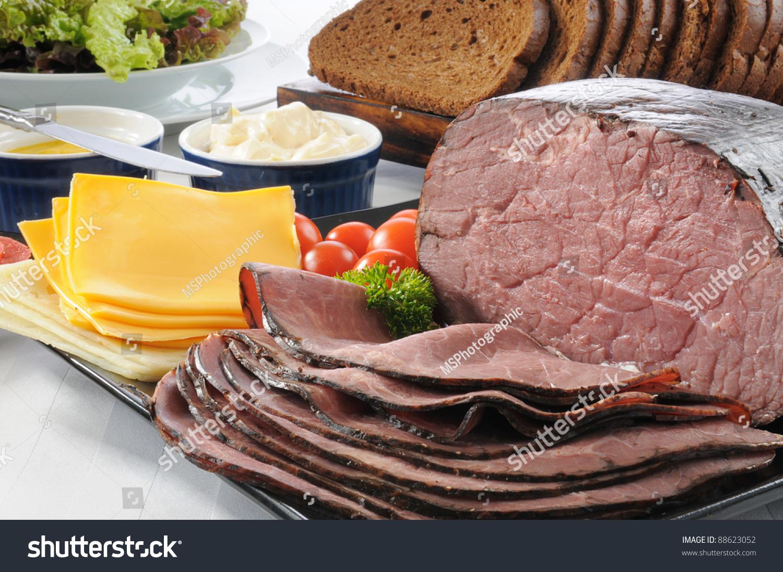 A Sliced Roast Beef Sandwich Buffet