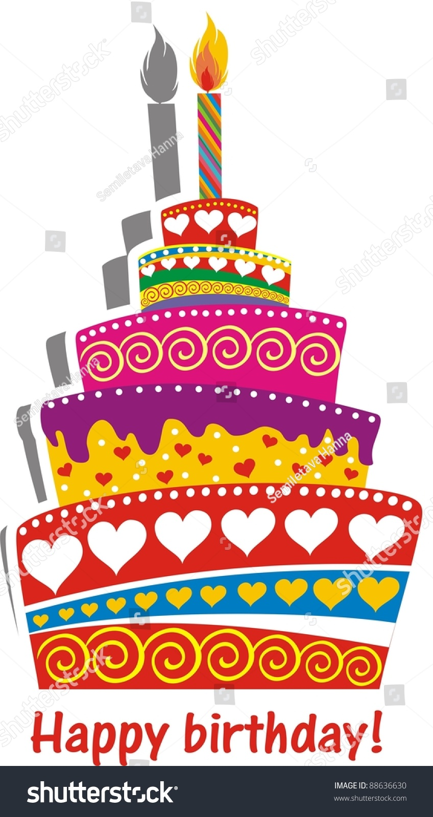 Birthday Cake. Illustration - 88636630 : Shutterstock