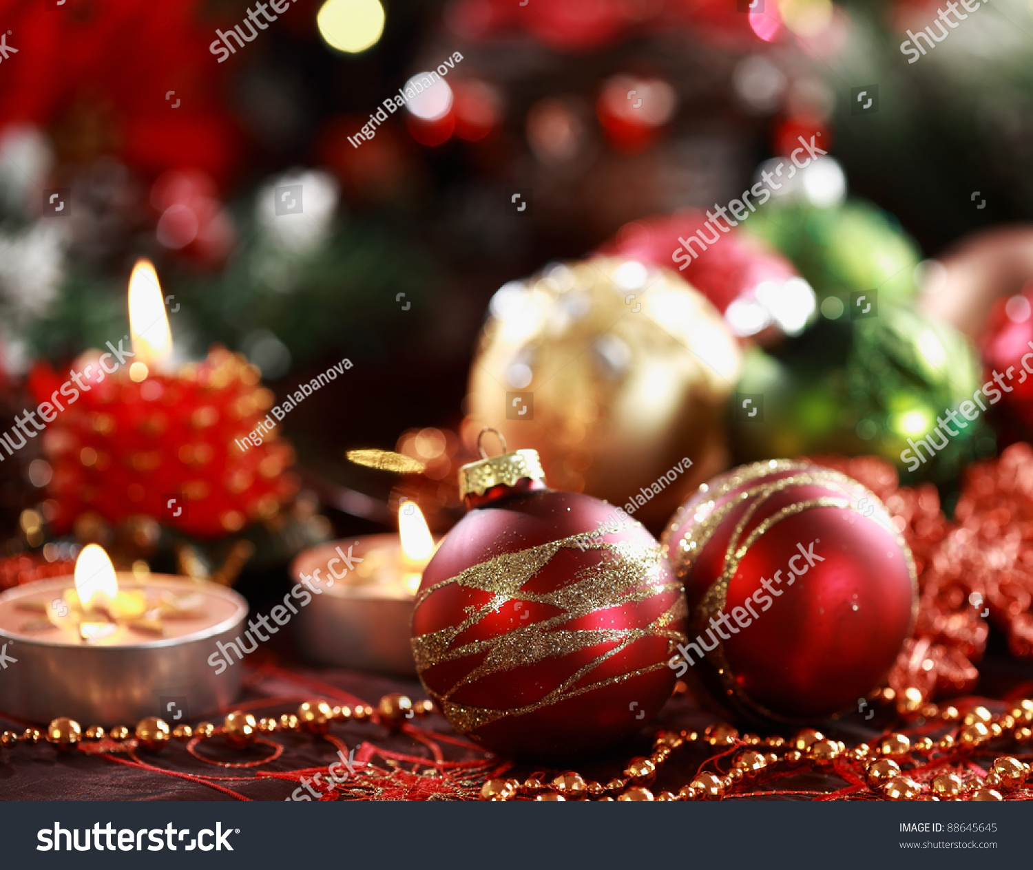 Beautiful Christmas Ornaments beautiful christmas ornaments table decoration stock photo