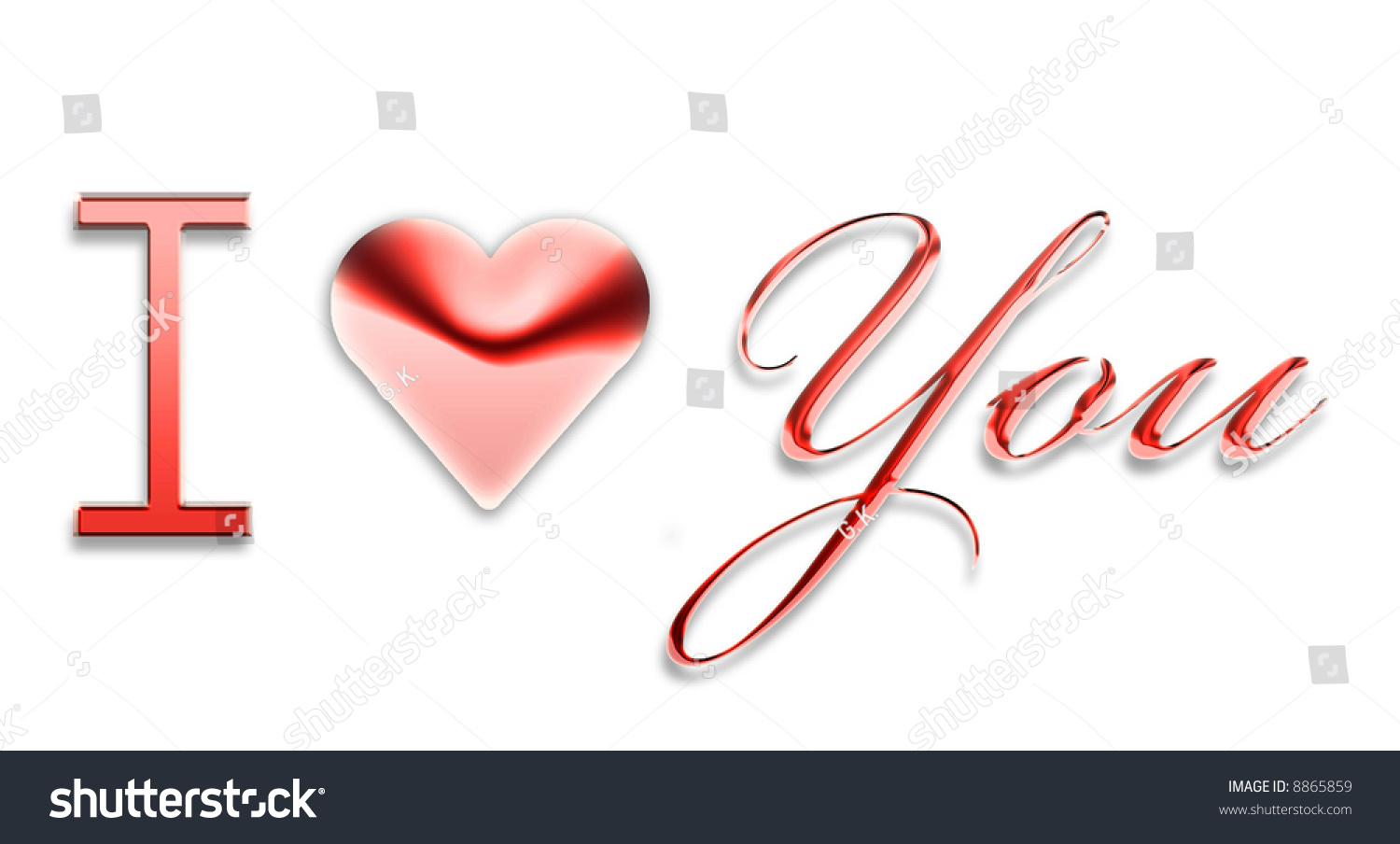 Royalty Free Stock Illustration Of Love You 3 D Text Writing Logo