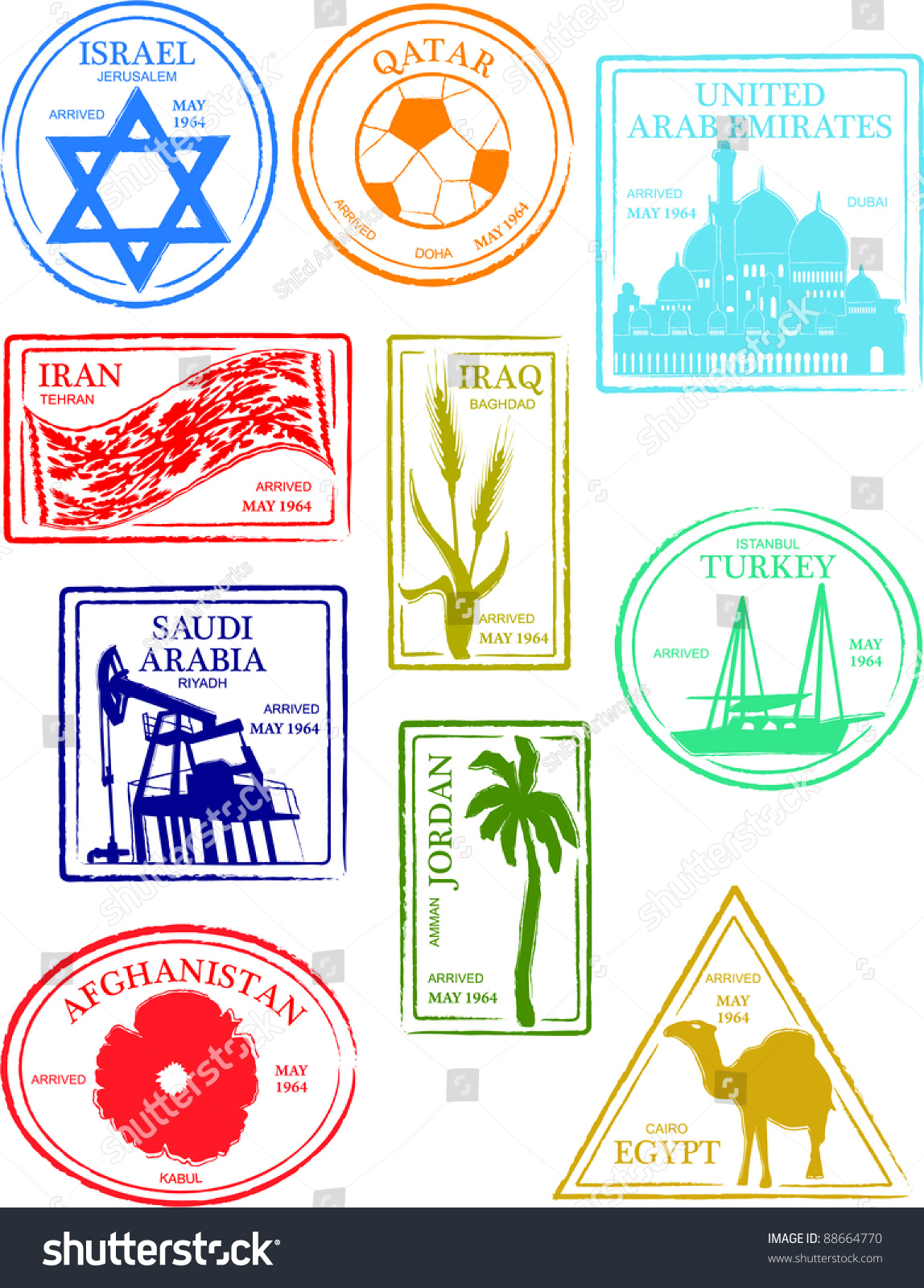 Retro Middle Eastern Countries Set Passport Stock Vector ...