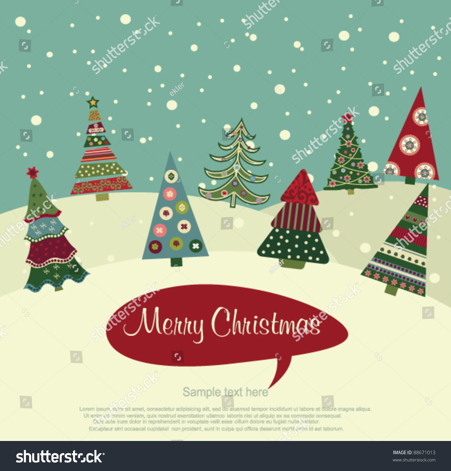 Retro Christmas Card Stock Vector (Royalty Free) 88671013 - Shutterstock