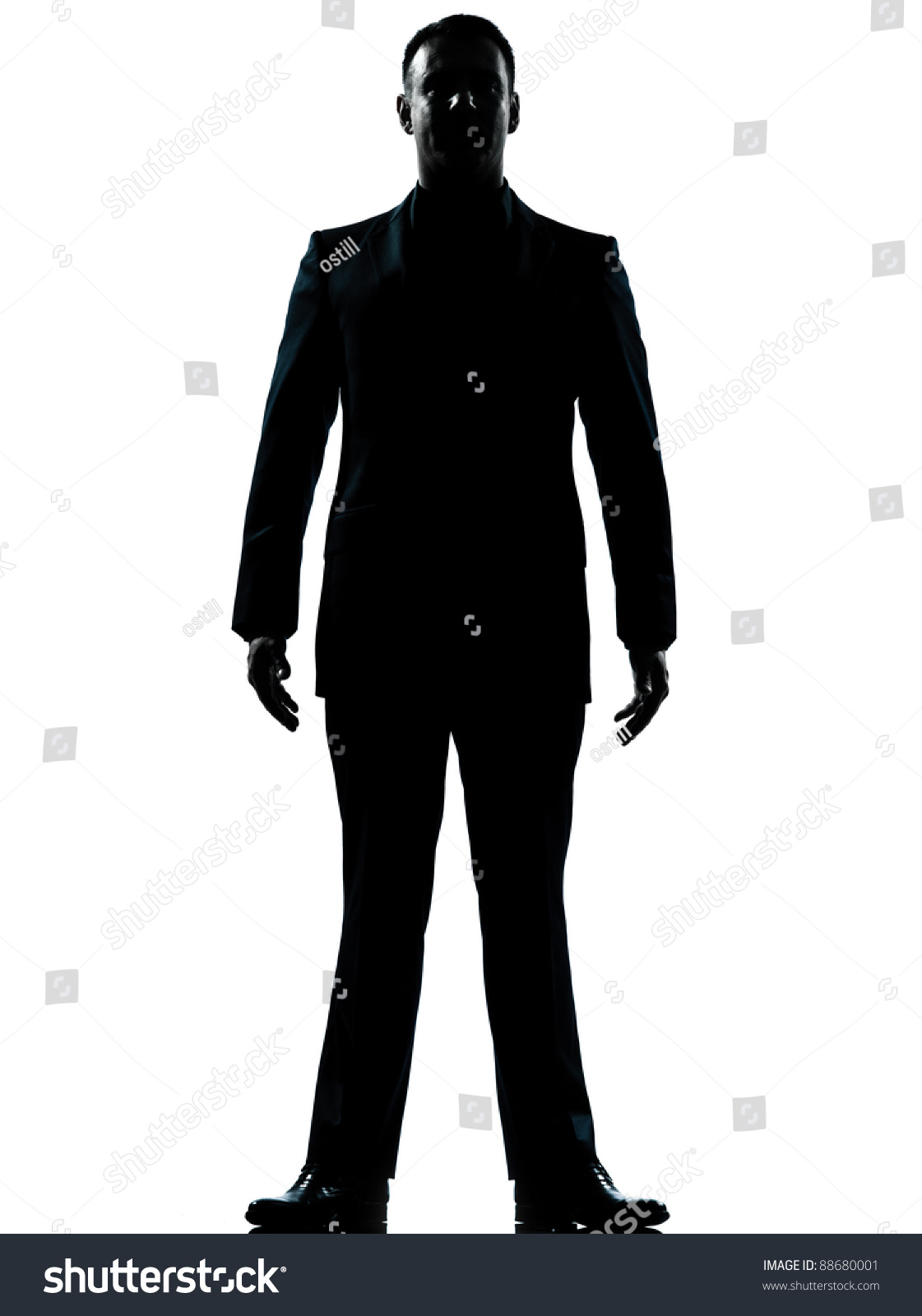 One Caucasian Business Man Silhouette Standing Full Length ...