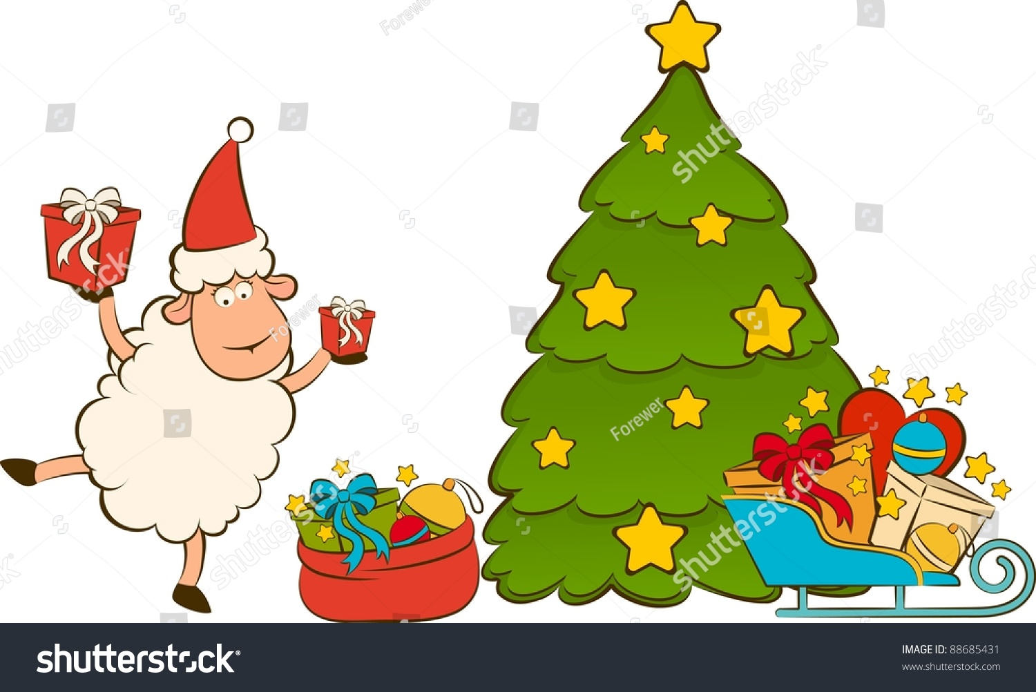 92 vector of a cartoon christmas tree and gifts children