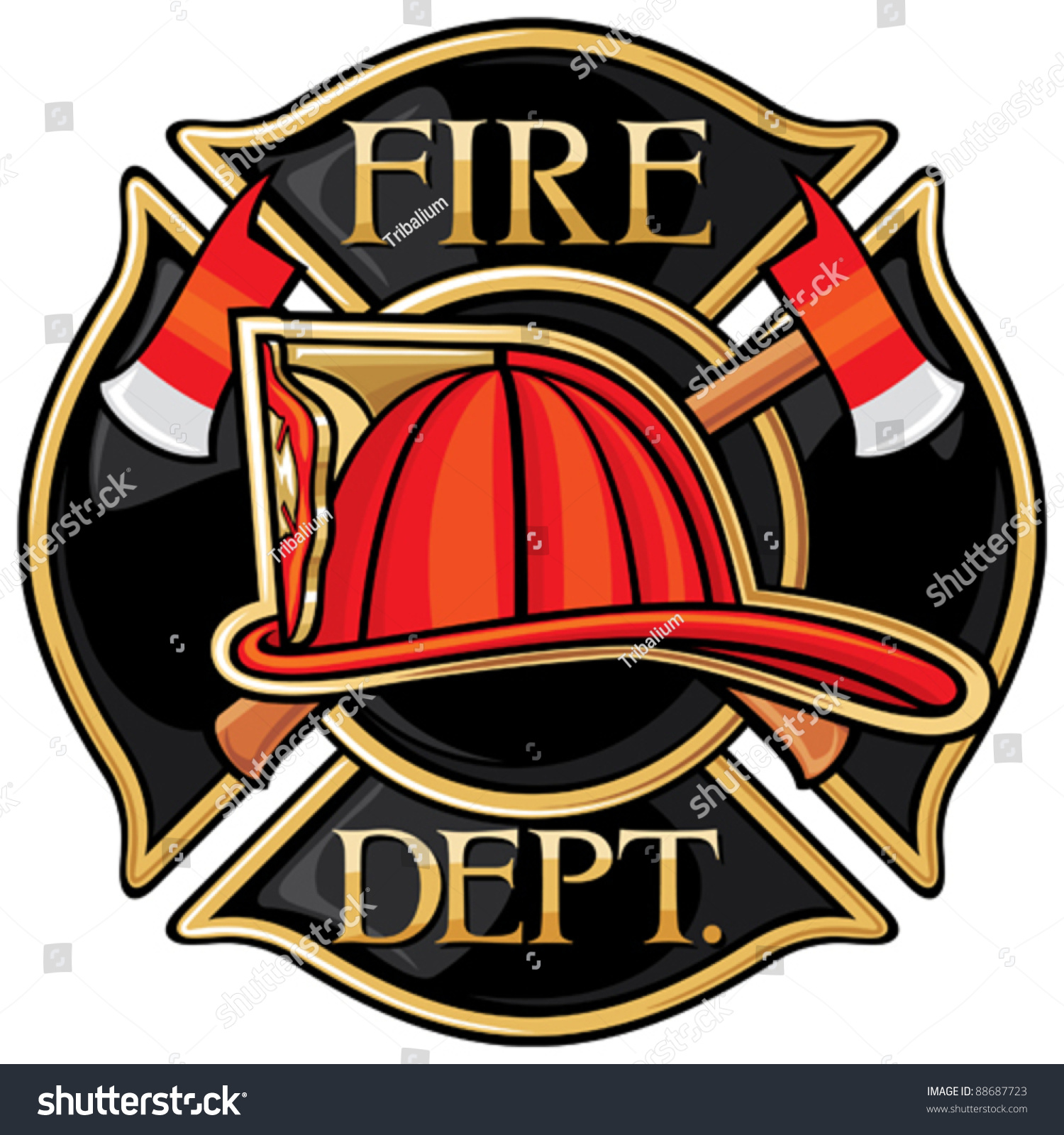 Fire Department Firefighters Maltese Cross Symbol Stock