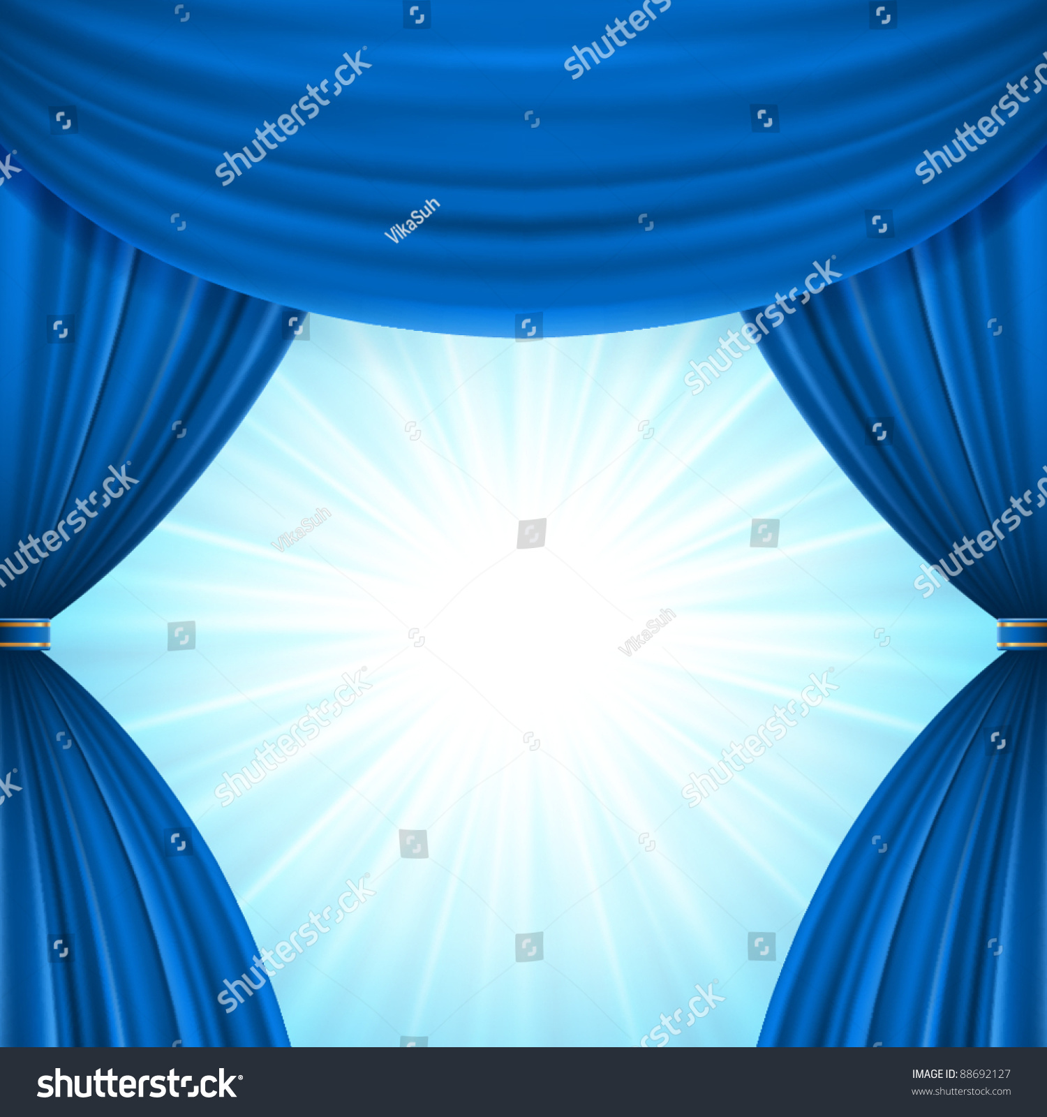 Blue curtain backdrop - Blue Stage Curtain Background Blue Theater Curtain And Light Celebration Vector Background Eps 10