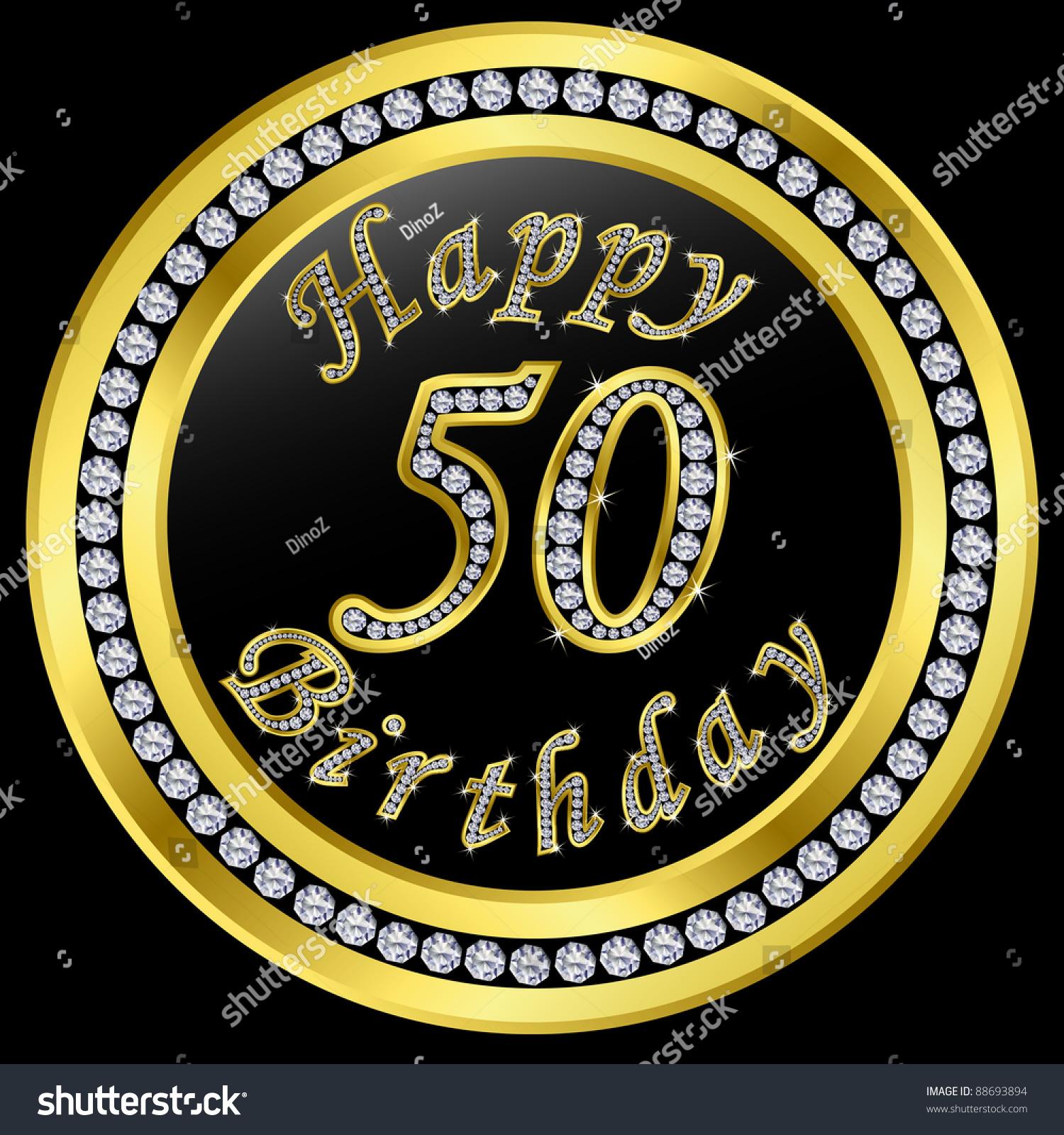 Happy 50th Birthday, Golden Icon With Diamonds, Vector