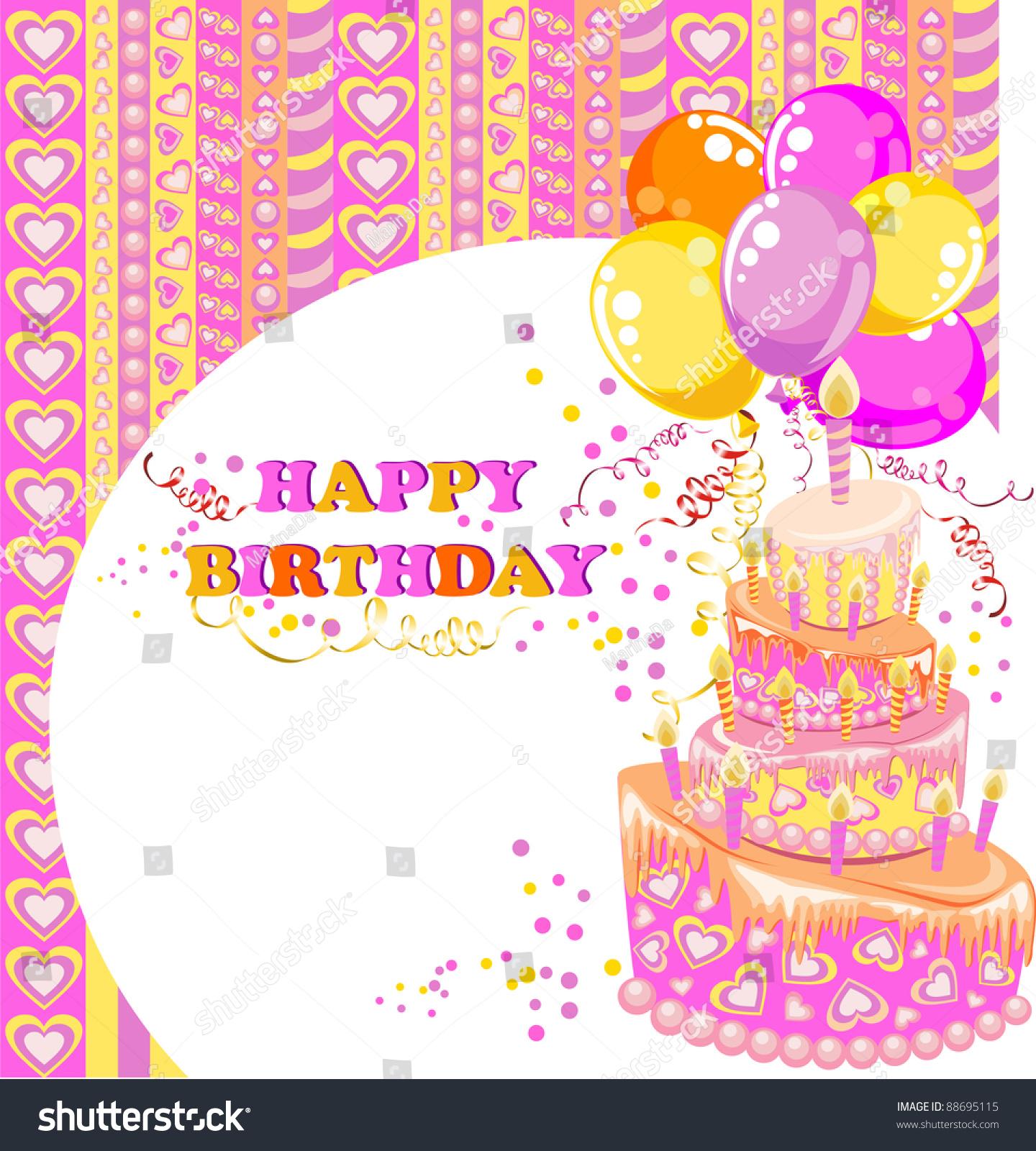 Happy Birthday Card Stock Illustration 88695115 Shutterstock