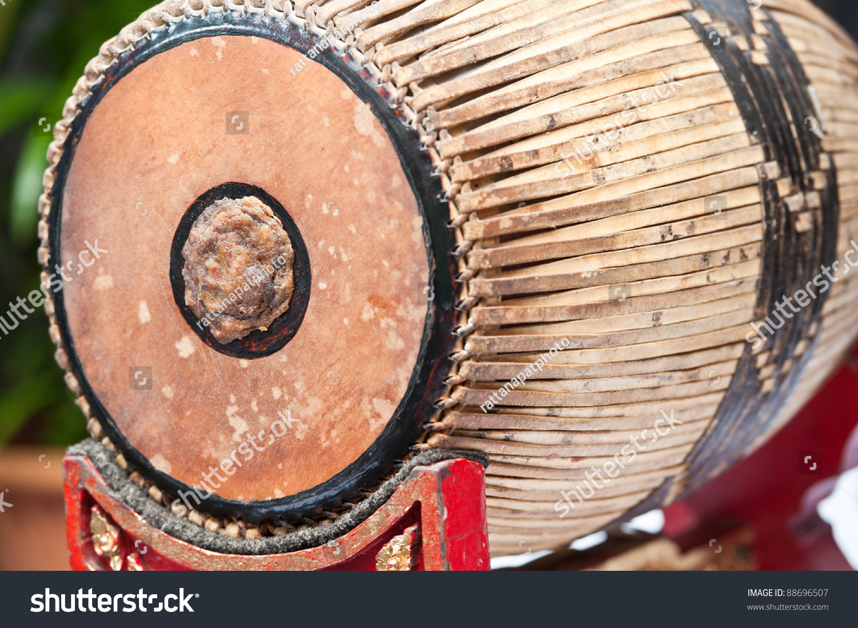 Thai Music Instrument Close Up (Klong) Stock Photo ...