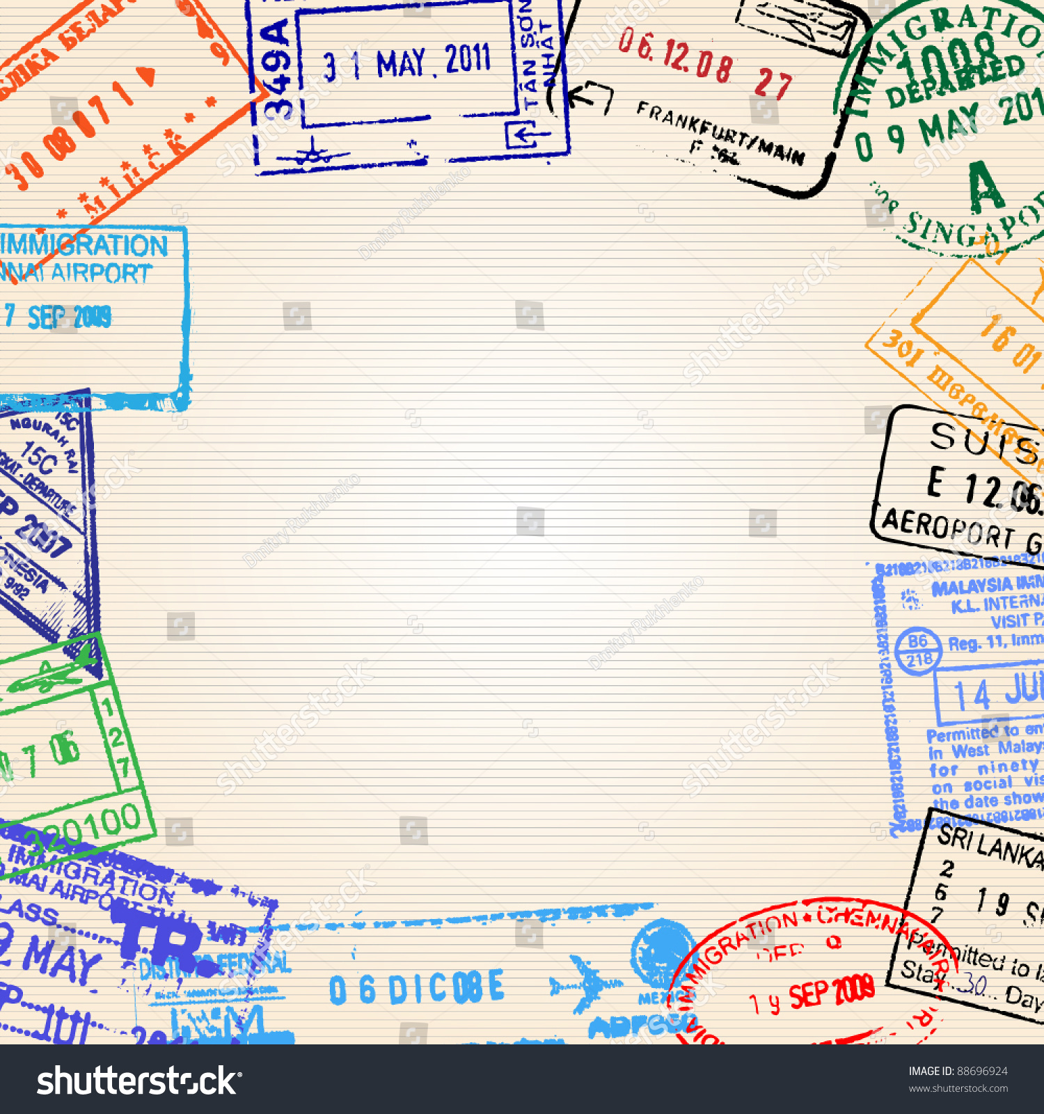 Travel Background Different Passport Stamps Vector Stock