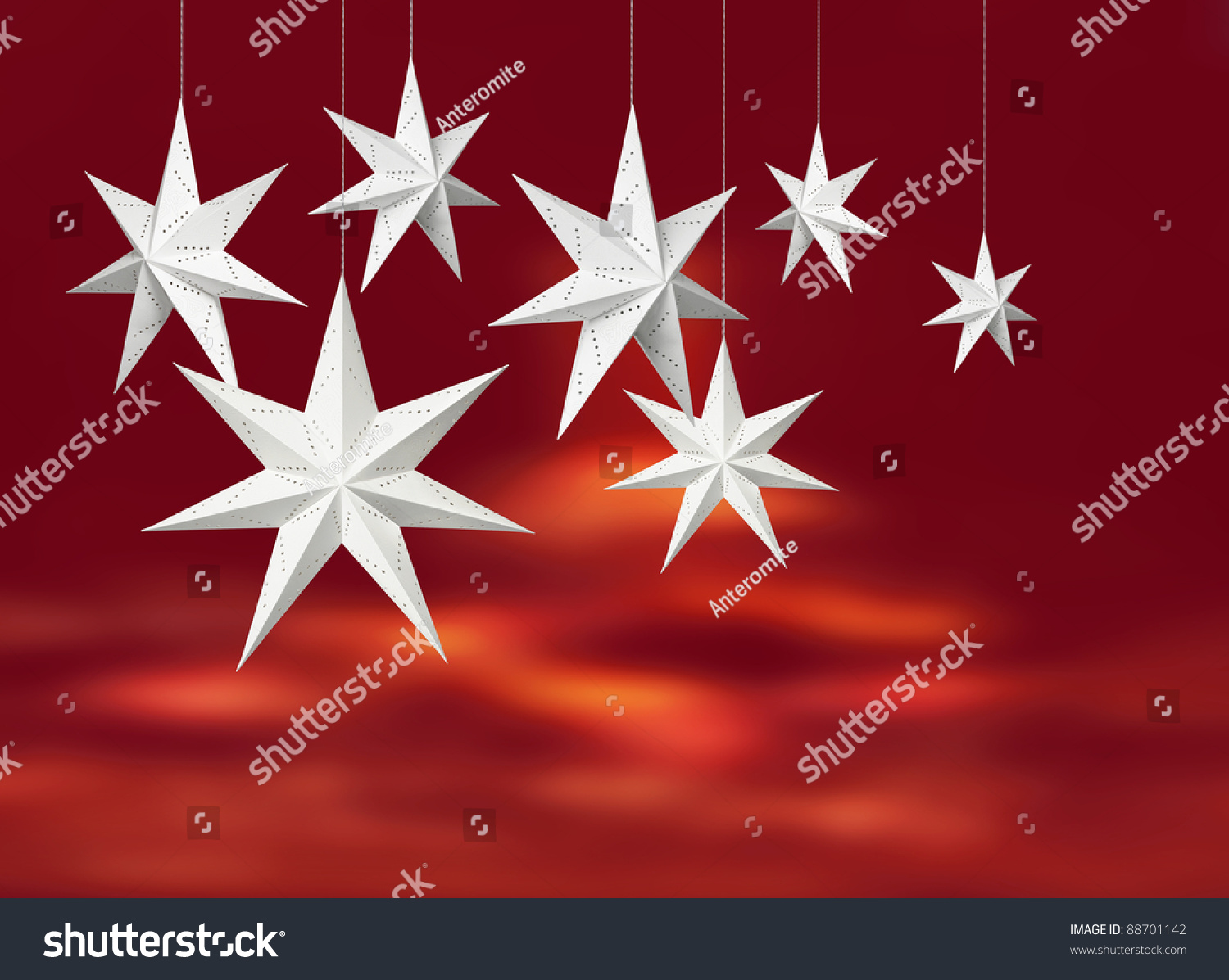 White Christmas Decoration Paper Stars Hanging Stock Illustration ...