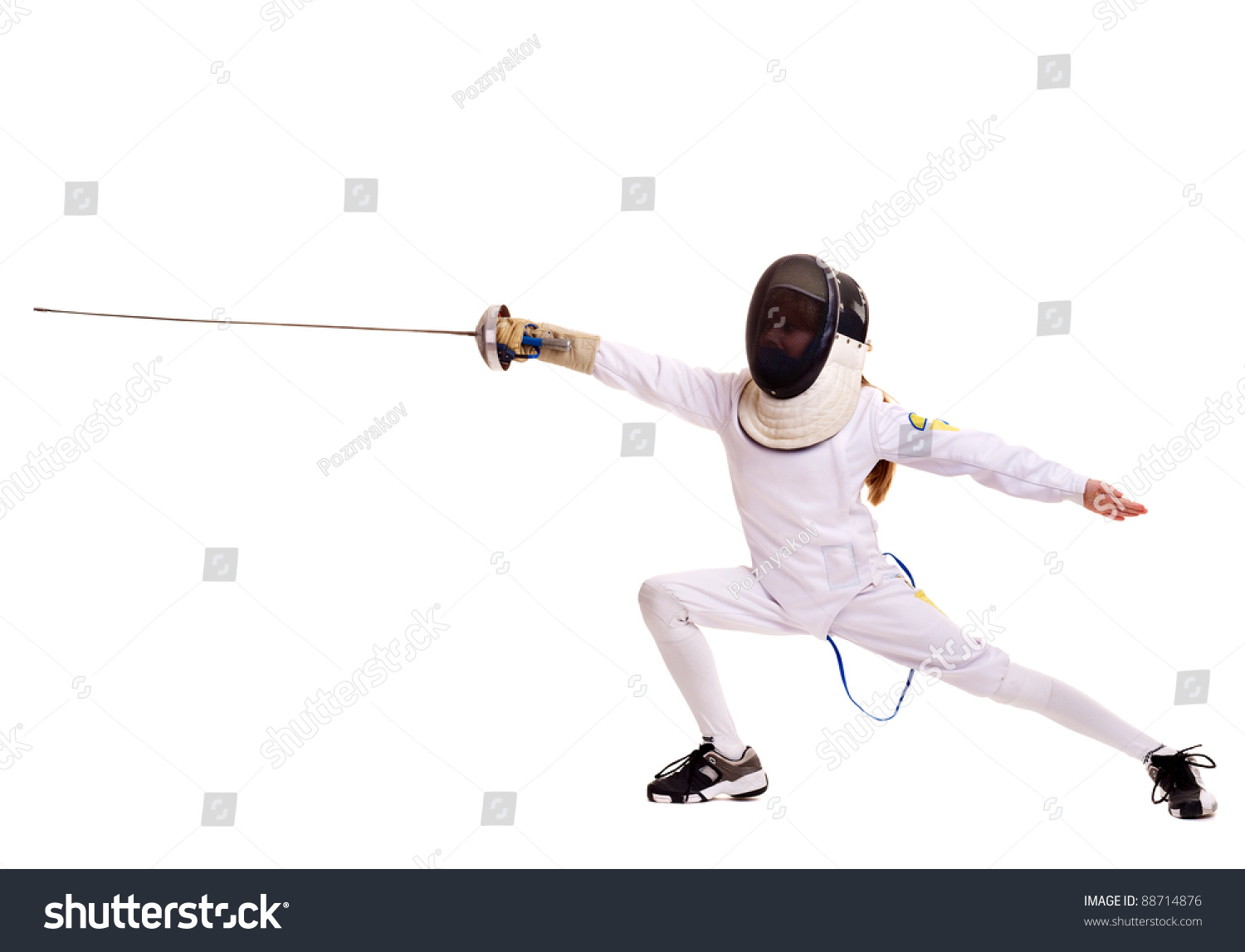 Child Epee Fencing Lunge. Isolated. Stock Photo 88714876 ...