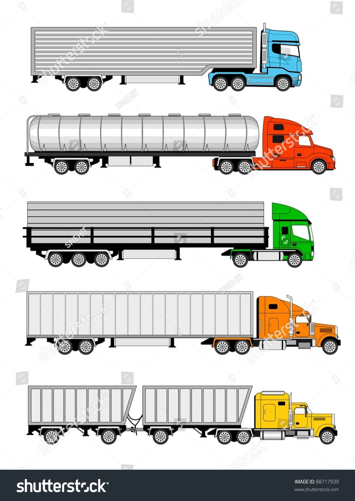 Types Of Tractor Trailers : Vector illustration of different types larges trucks