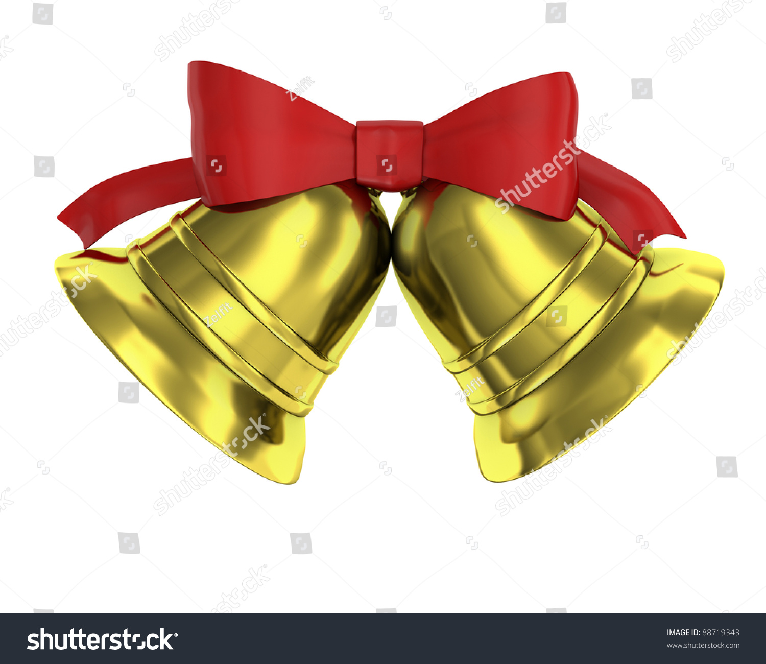 two christmas bells tied red ribbon stock illustration 88719343