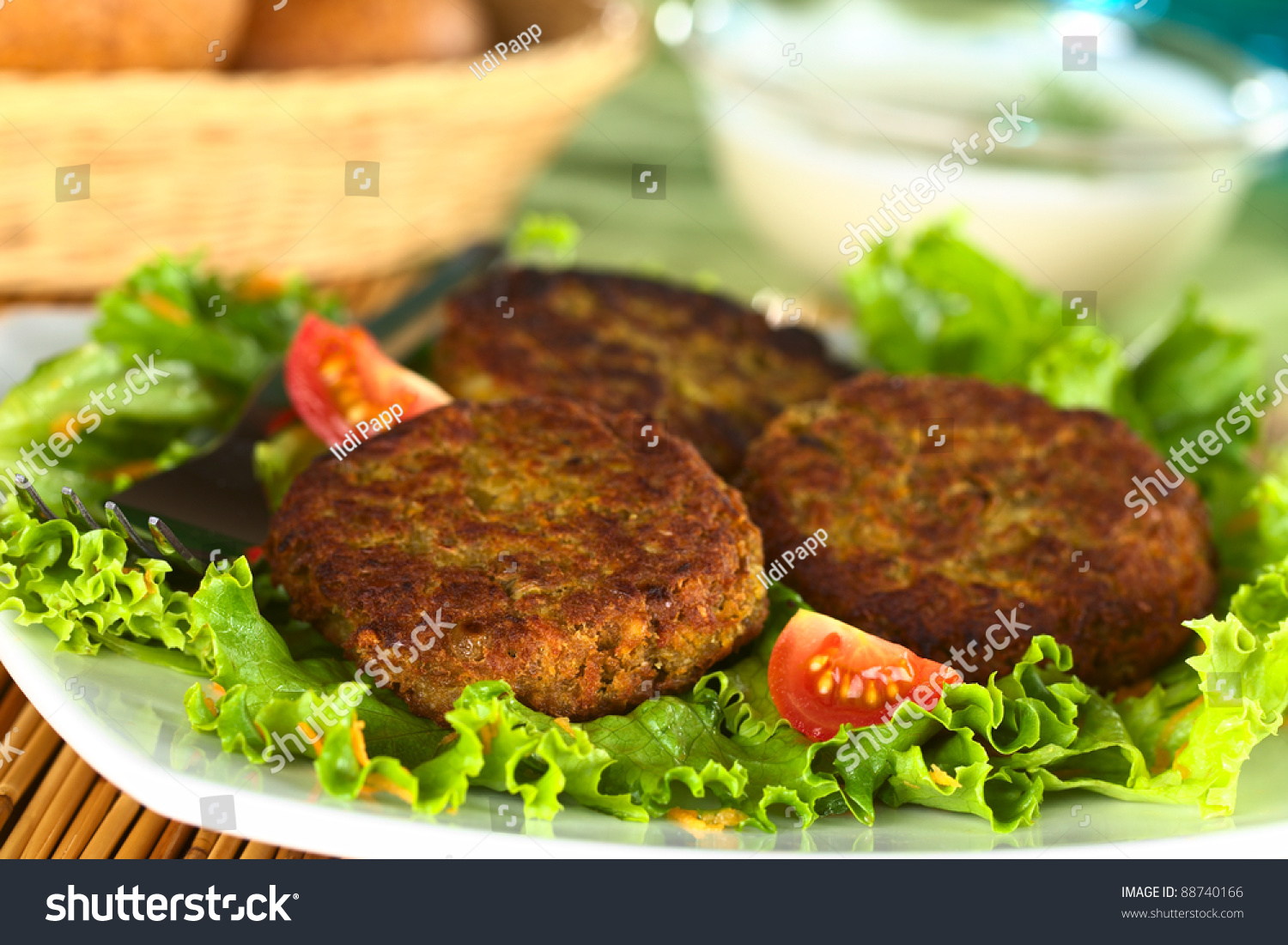 Vegetarian lentil burger made of brown lentils and grated carrots ...