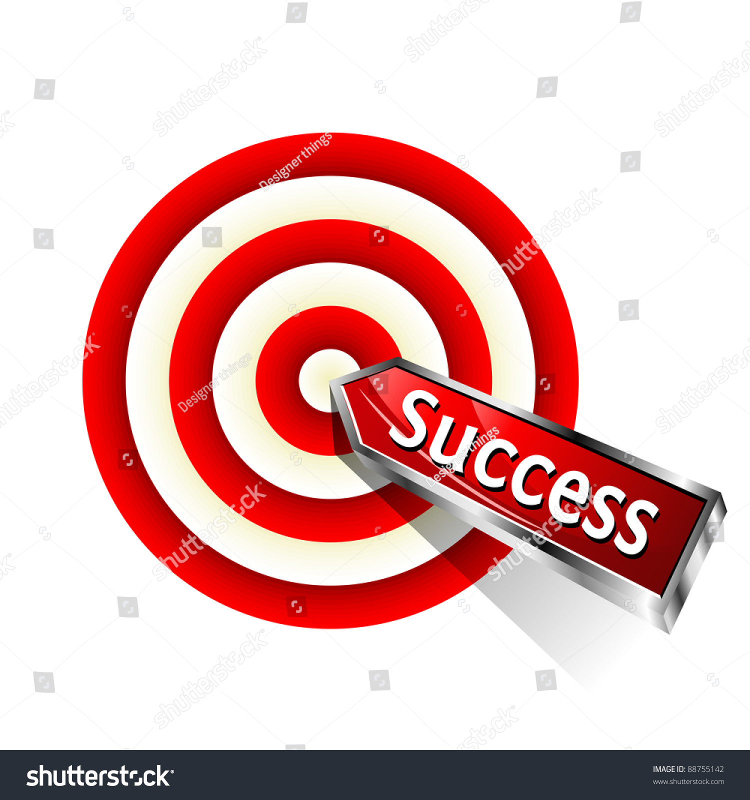 Concept Success Red Dart Hitting Target Stock Vector (Royalty Free ...