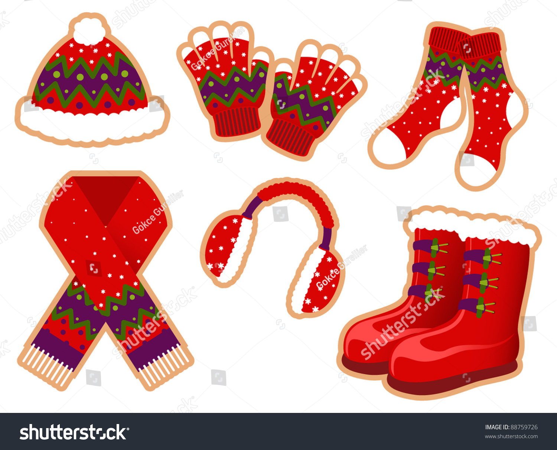 Winter Clothes Set Stock Vector 88759726 - Shutterstock