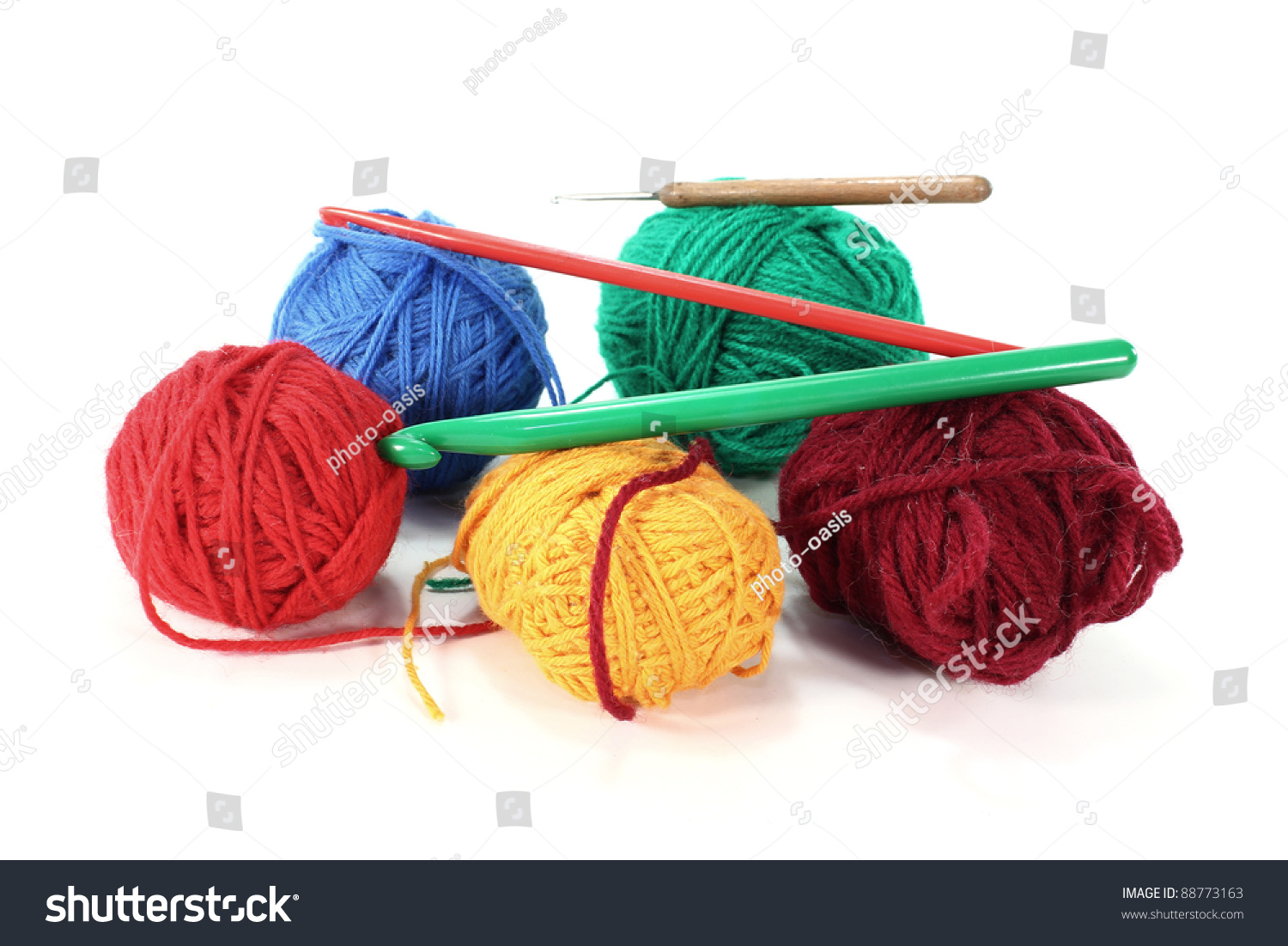 Crocheting Needles And Yarn : Crocheting Needles And Yarn Many colorful woolen yarn with crochet ...