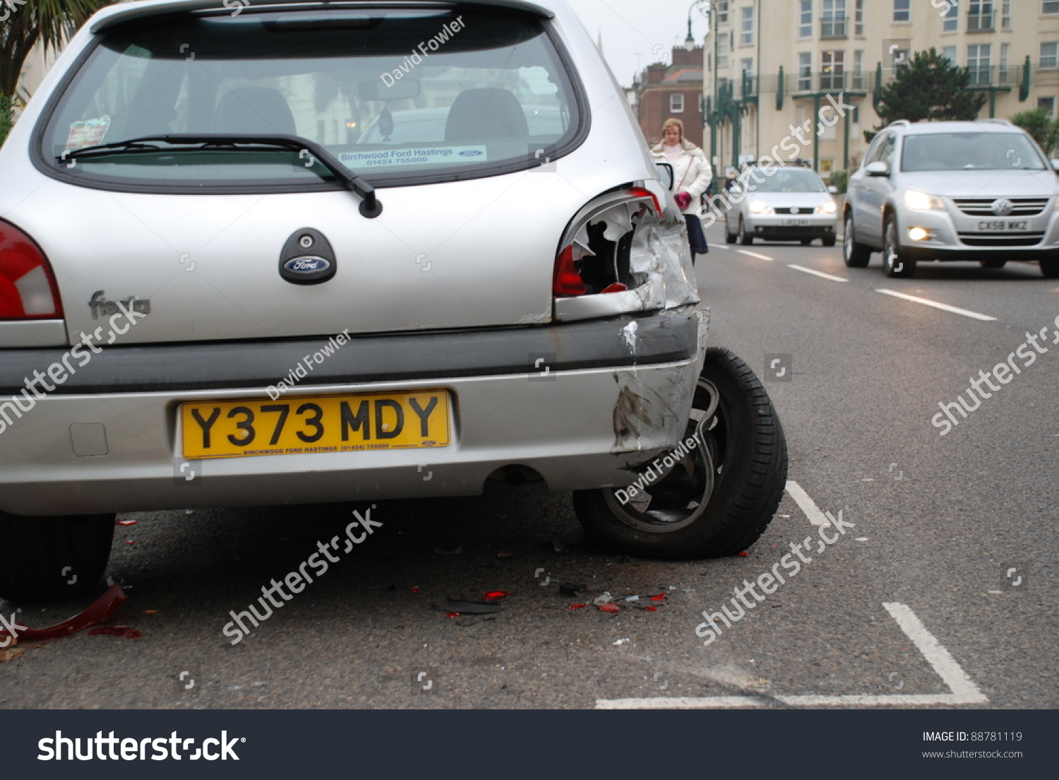 Hastings England November 14 A Ford Fiesta Car Damaged