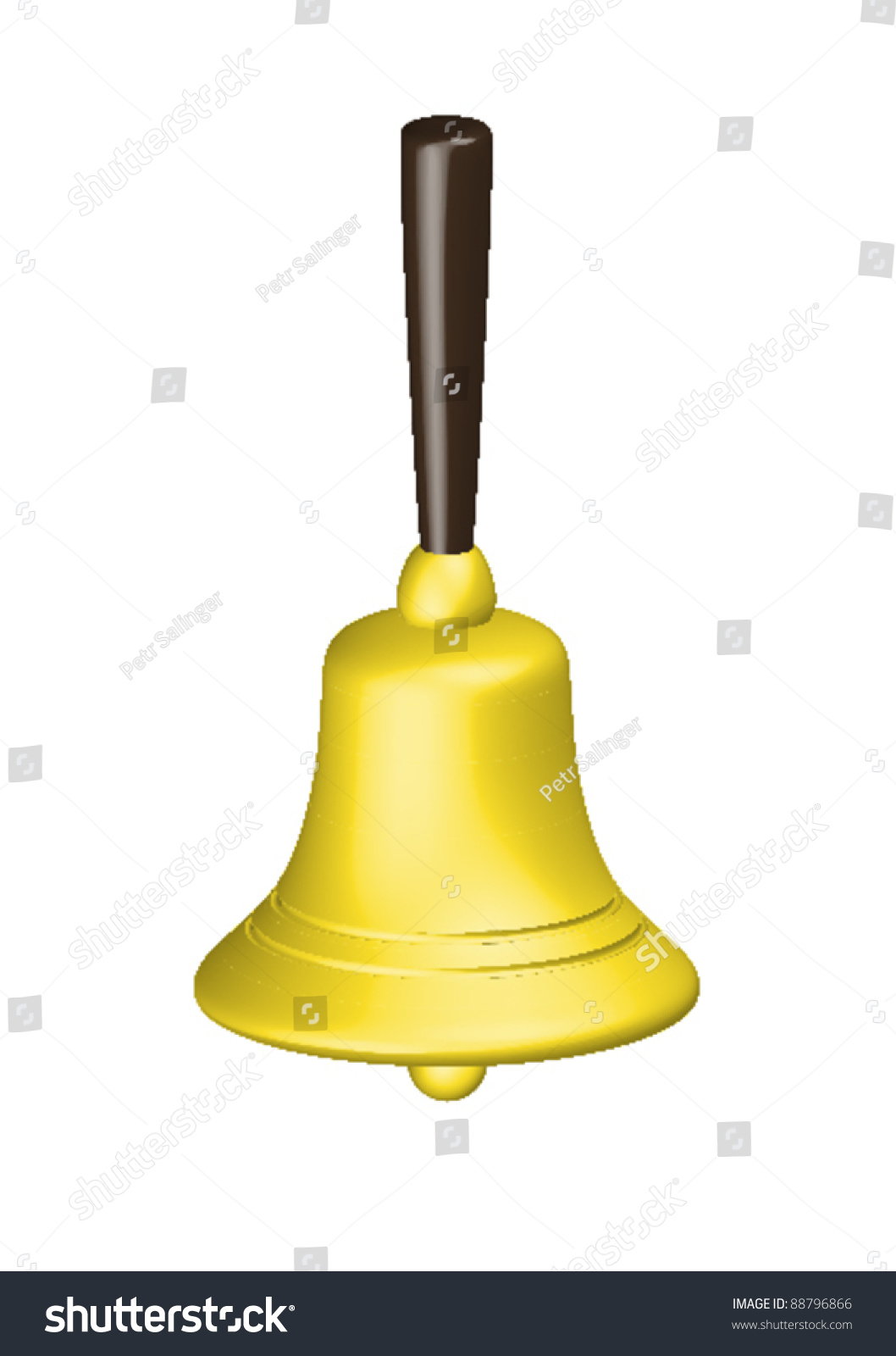 Golden Christmas Handbell Isolated On White Background Stock ...