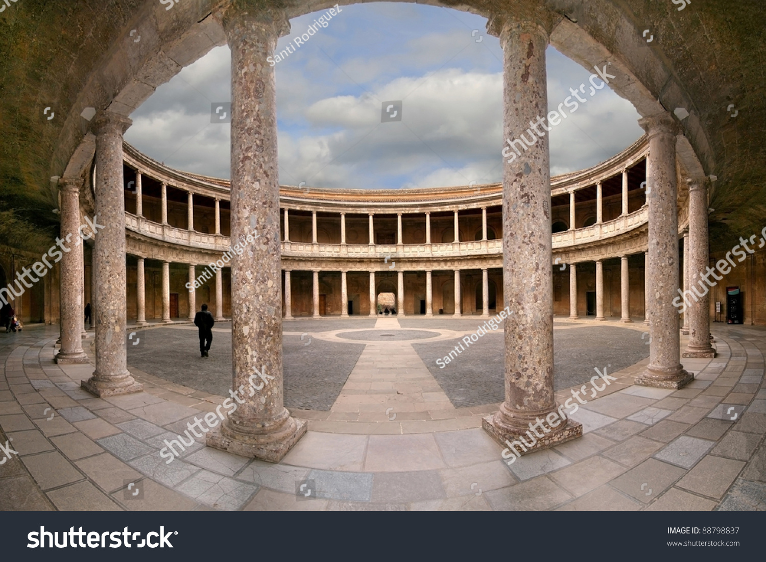 Courtyard Of The Palace Of Charles V (Palacio De Carlos V) In La Alhambra, Gr...