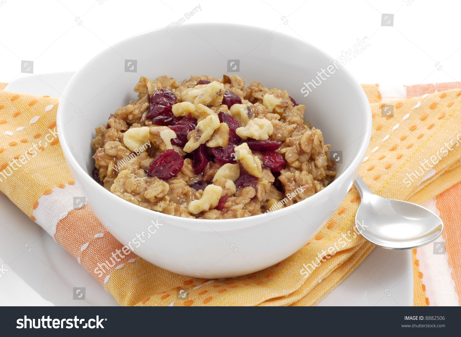 Bowl Of Oatmeal With Dried Fruit And Nuts. Stock Photo 8882506 ...