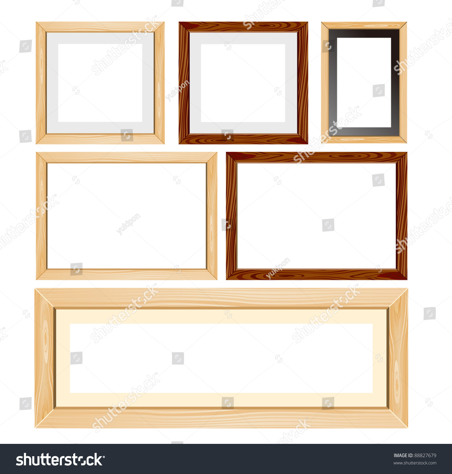 unfinished wood frames set vector preview save to a lightbox