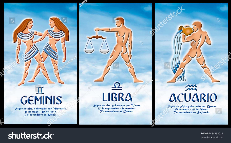 Stock Photo Signs Of The Zodiac Aquarius Gemini Libra Spanish Version