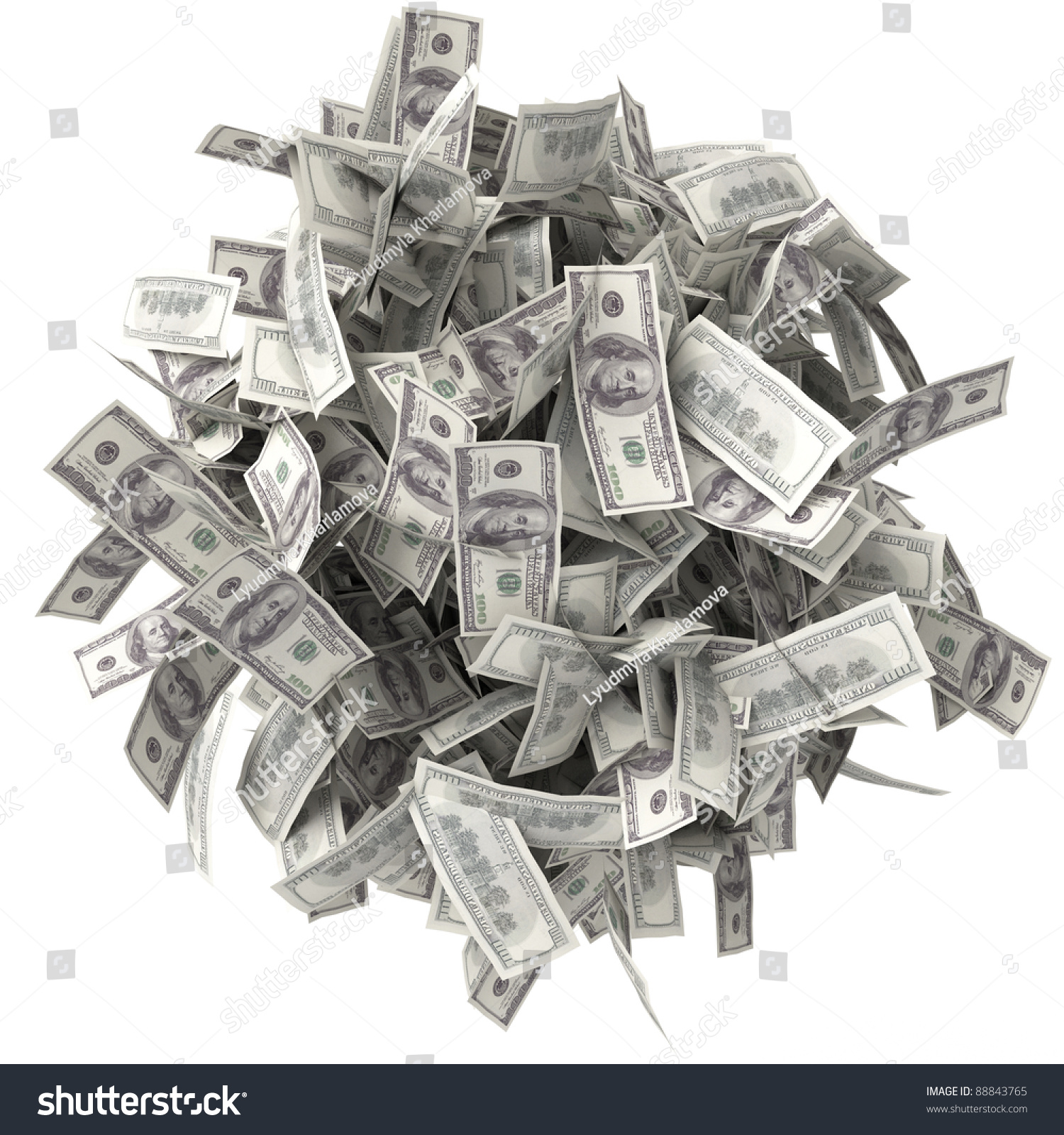 crumpled bills pile money ball notes stock illustration 88843765