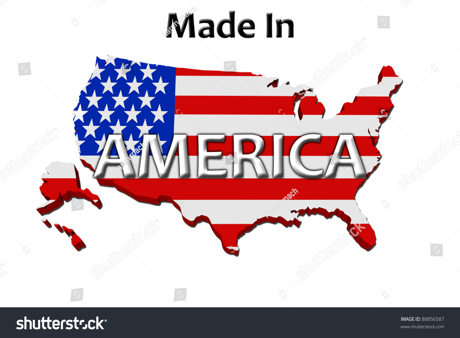 a red white and blue map of the usa with made in america isolated on